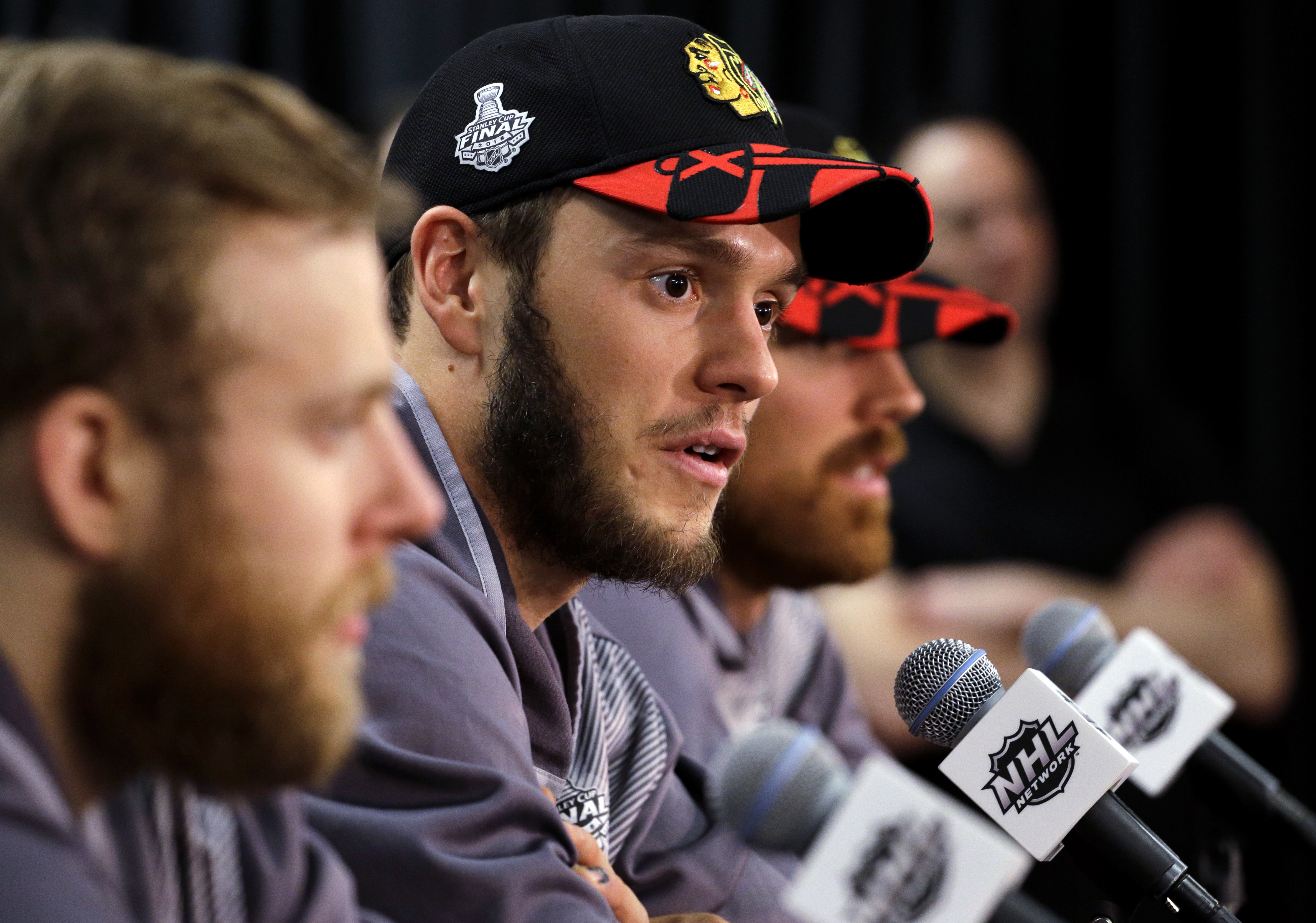 Chicago Blackhawks center Jonathan Toews talks during a news conference, Sunday, June 14, 2015, in Chicago. The Chicago Blackhawks now lead the series 3-2 and have the opportunity to win the Cup at home for the first time since 1938. Game 6 is scheduled f