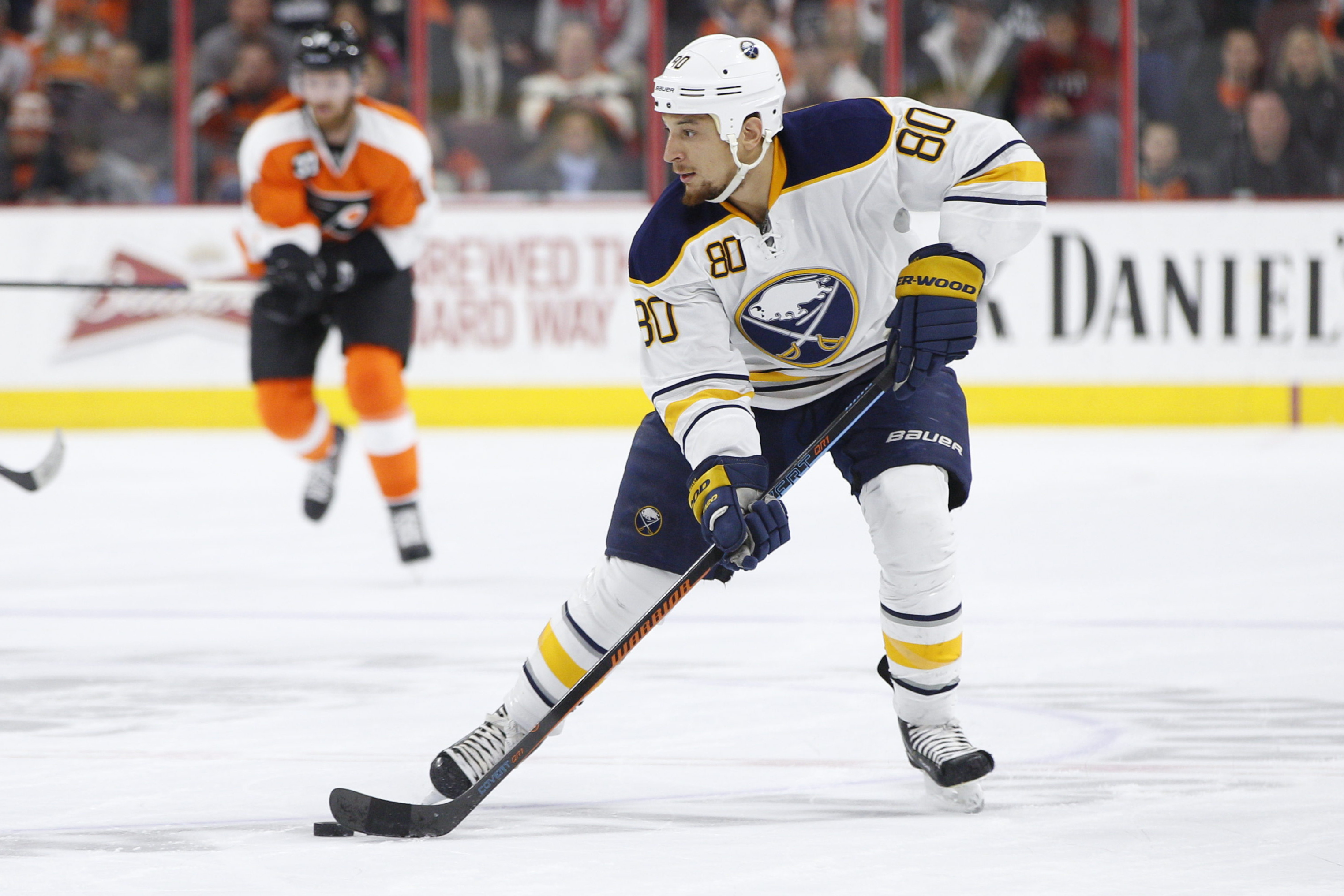 Buffalo Sabres right wing Chris Stewart in action during the first period of an NHL hockey game against the Philadelphia Flyers, Thursday, Feb. 19, 2015, in Philadelphia. Sabres won 3-2 by shootout. (AP Photo/Chris Szagola)