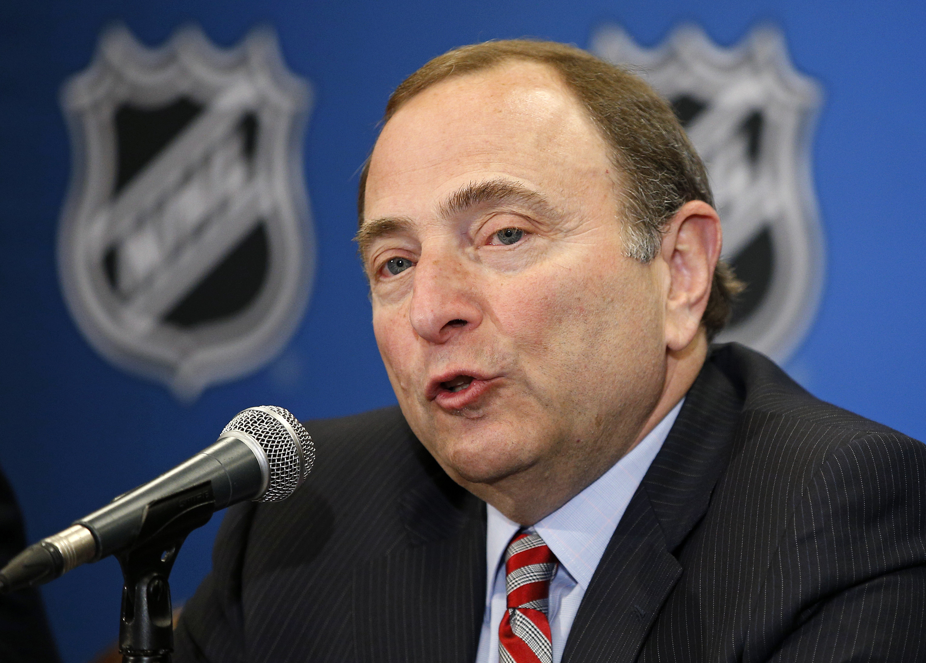 NHL commissioner Gary Bettman speaks at a news conference before the NHL Awards show Wednesday, June 24, 2015, in Las Vegas. The NHL is officially exploring expansion. The league is opening a formal expansion review process to consider adding new franchis