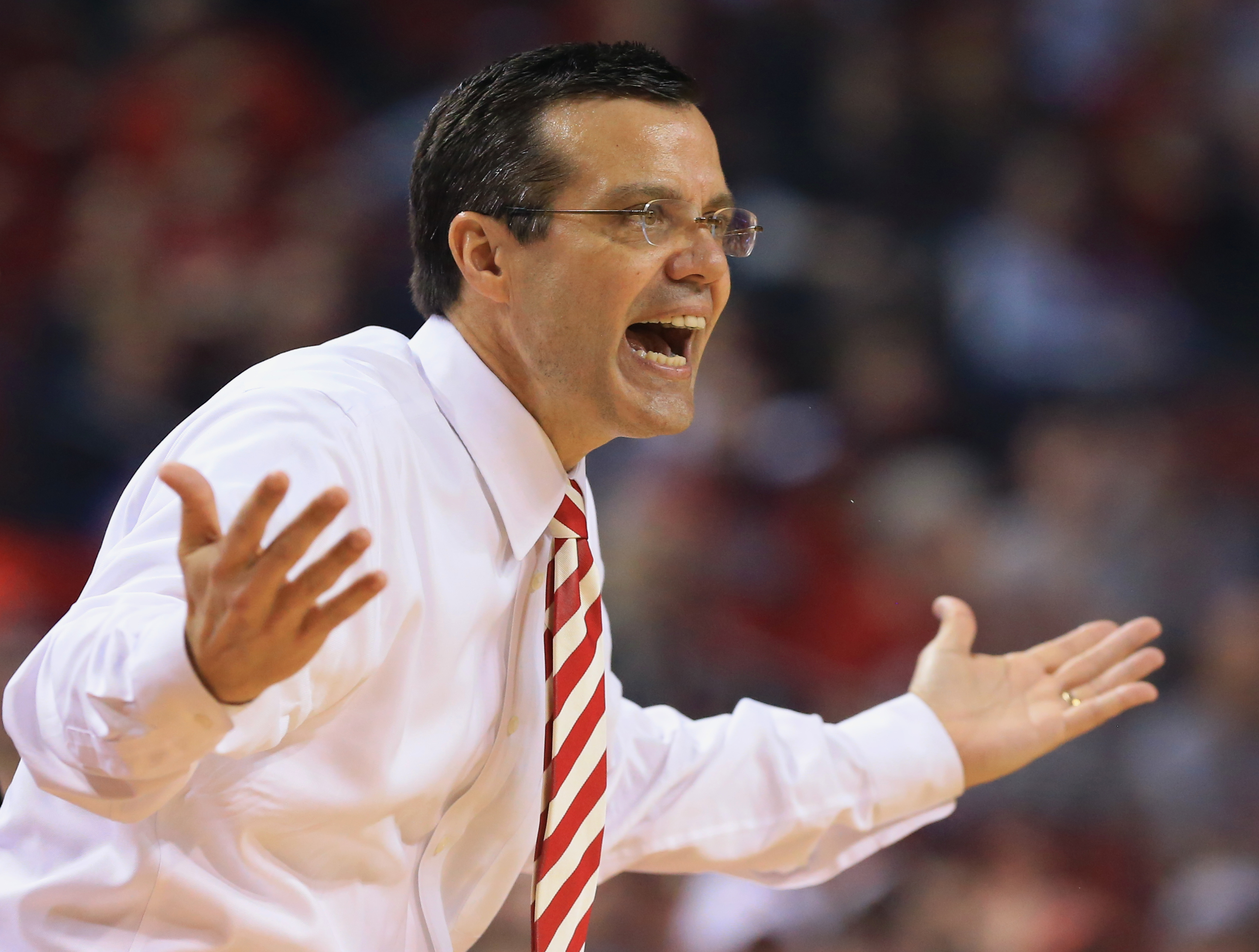 Nebraska coach Tim Miles reacts after a technical foul against his team during the first half of an NCAA college basketball game against Maryland in Lincoln, Neb., Sunday, March 8, 2015. (AP Photo/Nati Harnik)