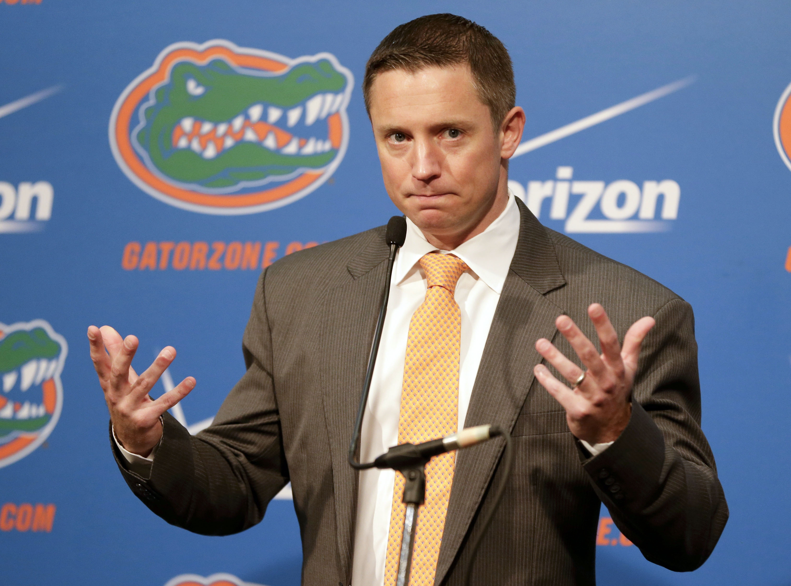 Florida head coach Mike White speaks at a news conference at  NCAA college basketball media day, Tuesday, Sept. 29, 2015, in Gainesville, Fla. (AP Photo/John Raoux)