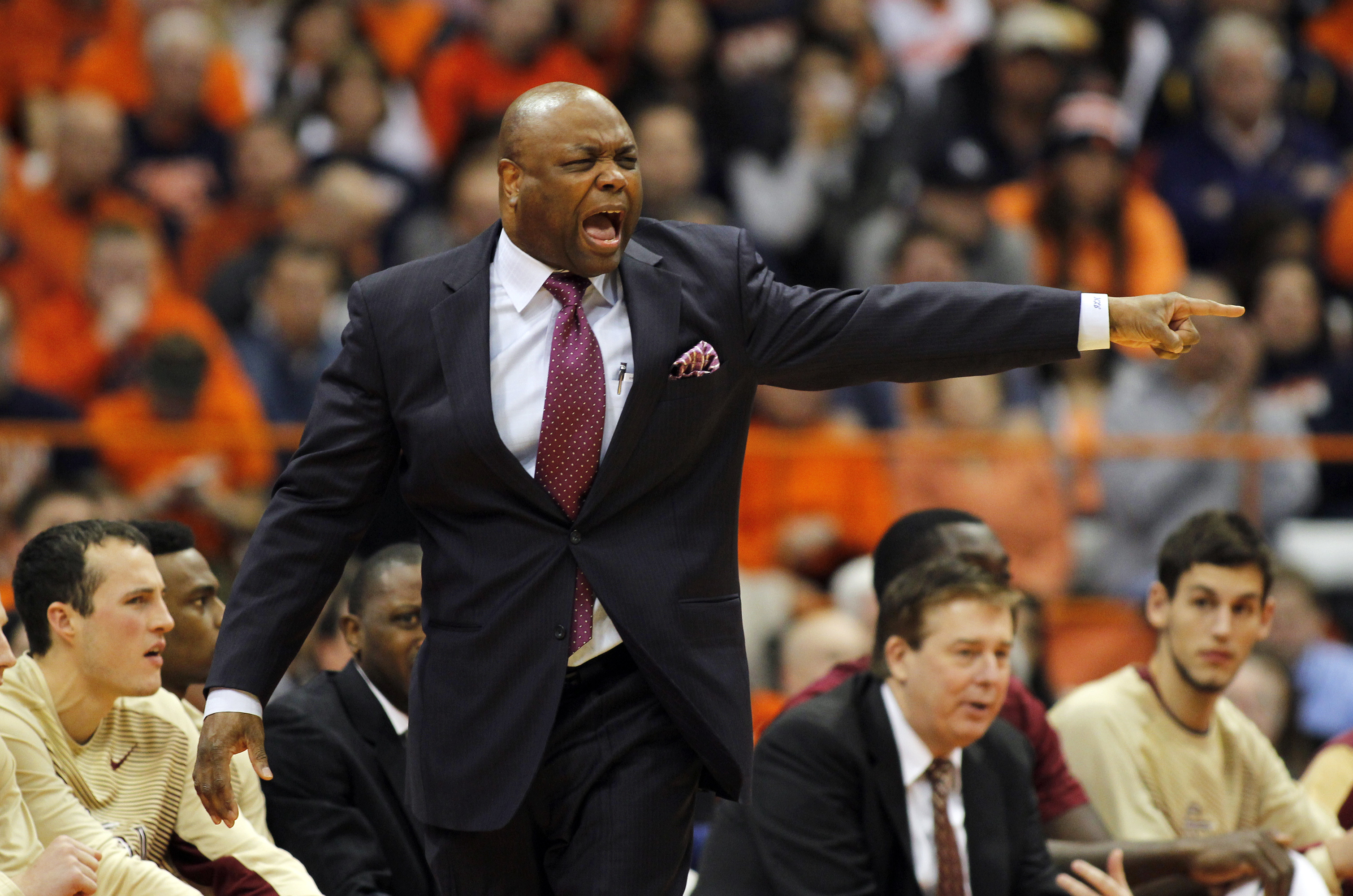 FILE - In this Jan. 11, 2015, file photo, Florida State's head coach Leonard Hamilton yells to his players in the first half of an NCAA college basketball game against Syracuse in Syracuse, N.Y. With almost all of their returning scorers back and a recrui