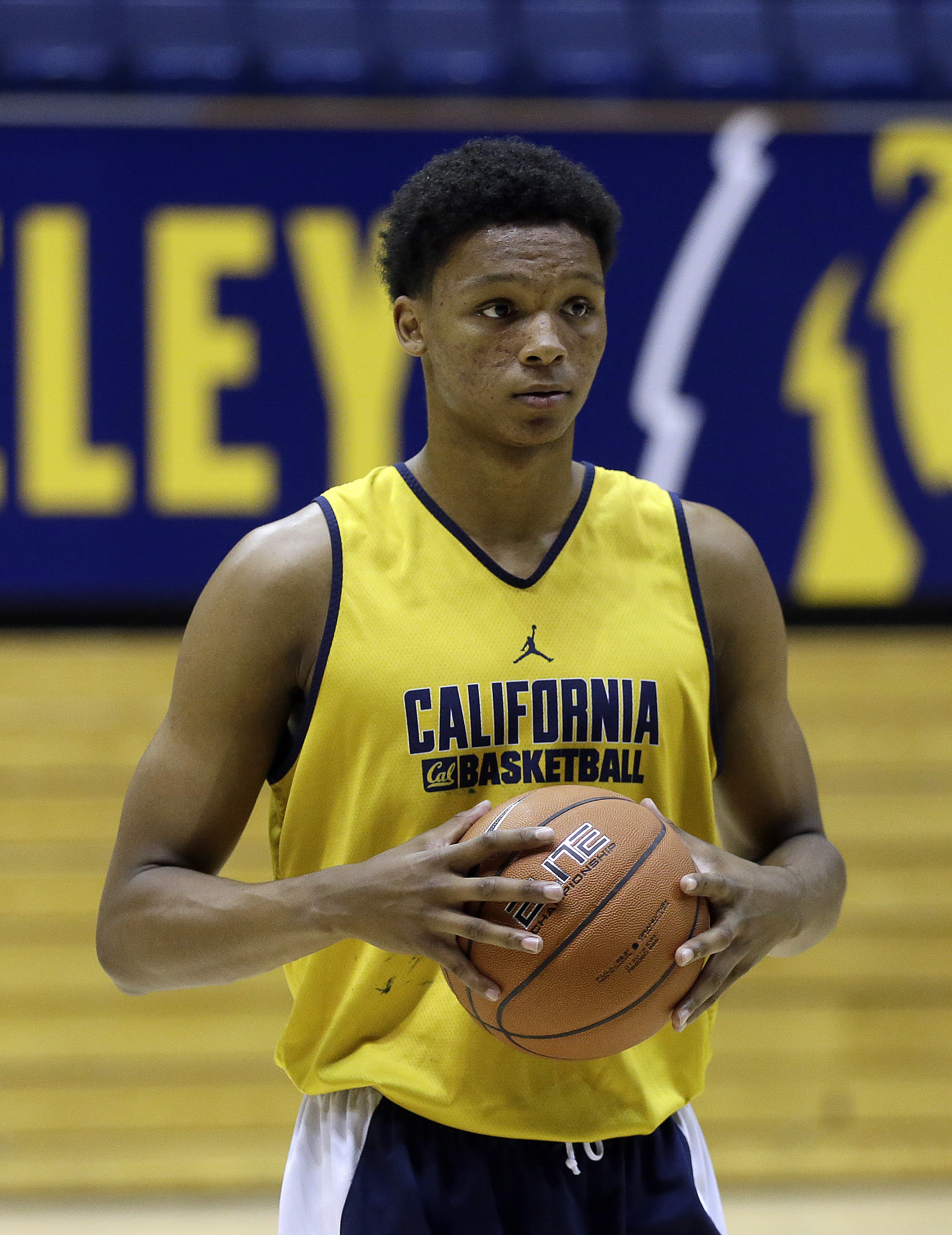 California's Ivan Rabb prepares for a drill during basketball practice Wednesday, Oct. 7, 2015, in Berkeley, Calif. (AP Photo/Ben Margot)