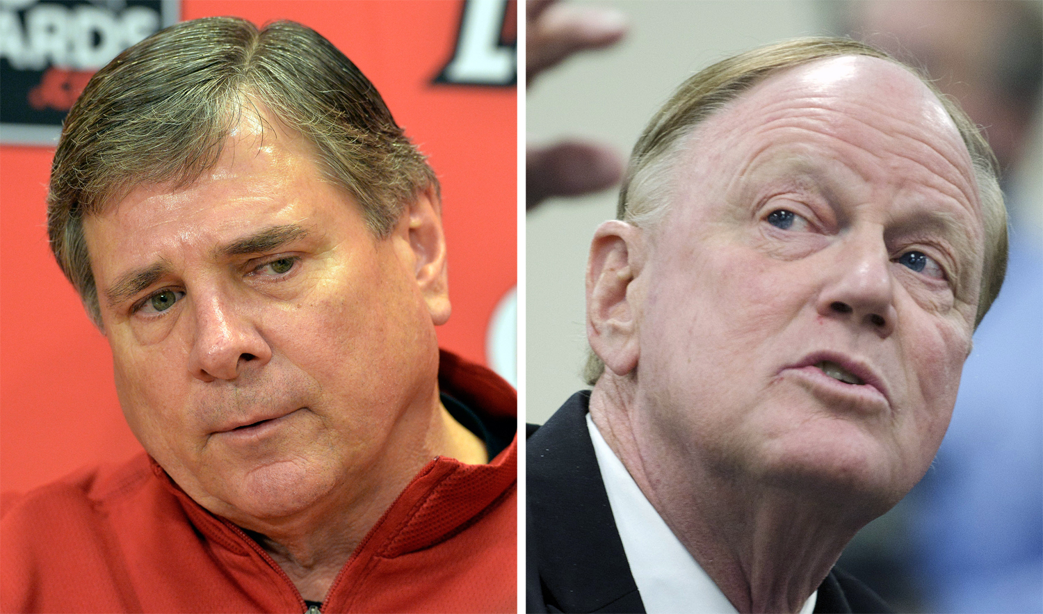 FILE - At left, in a Jan. 5, 2013, file photo, University of Louisville Athletic Director Tom Jurich listens to a reporters question during a press conference in Louisville, Ky. At right, in a Feb. 2, 2012, file photo, University of Louisville President D