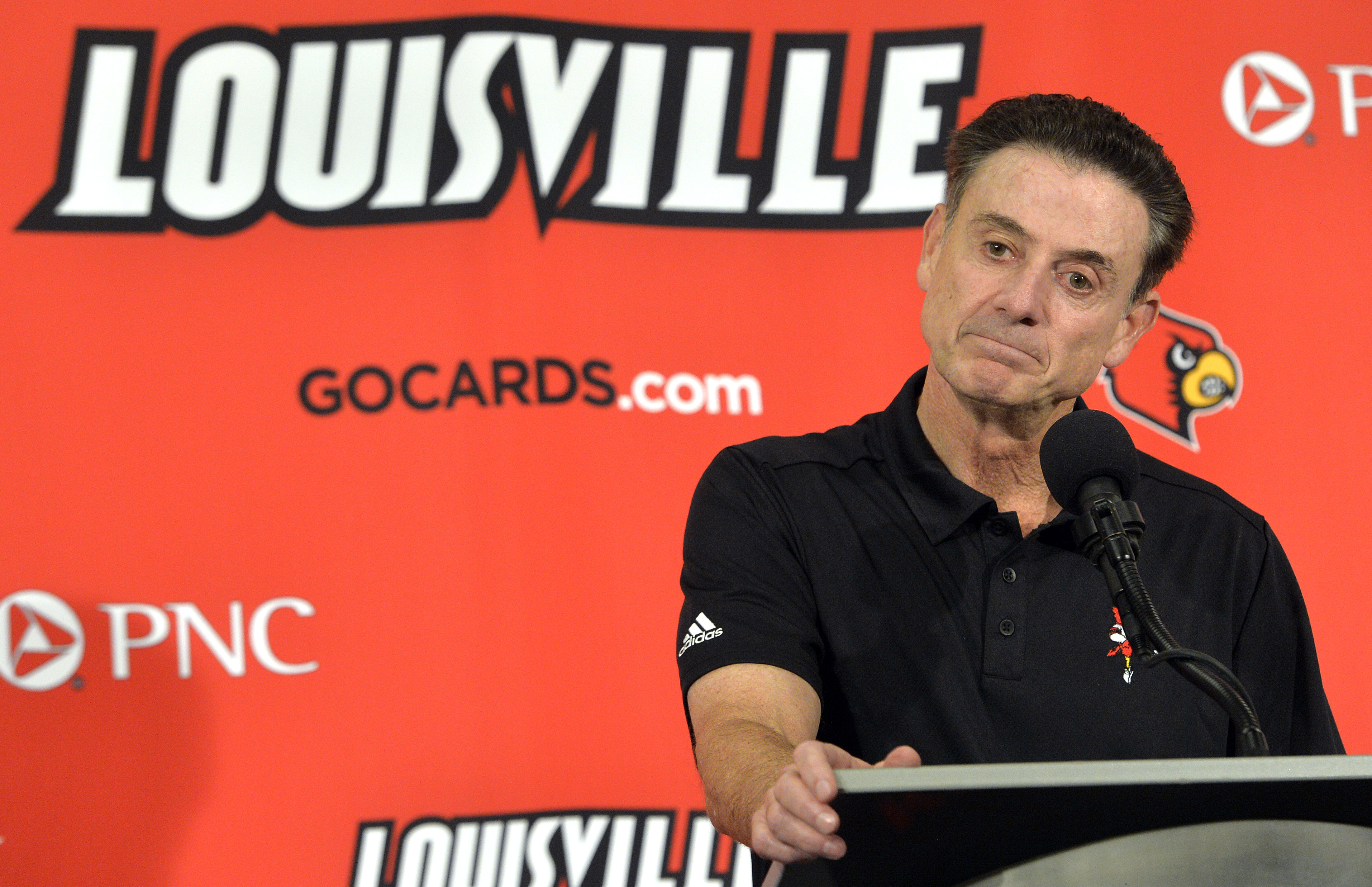 FILE - In this Oct. 3, 2015, file photo, Louisville head coach Rick Pitino responds to a question following an NCAA college basketball team's intrasquad scrimmage in Louisville, Ky. Escort Katina Powell says she has no proof that Louisville coach Rick Pit