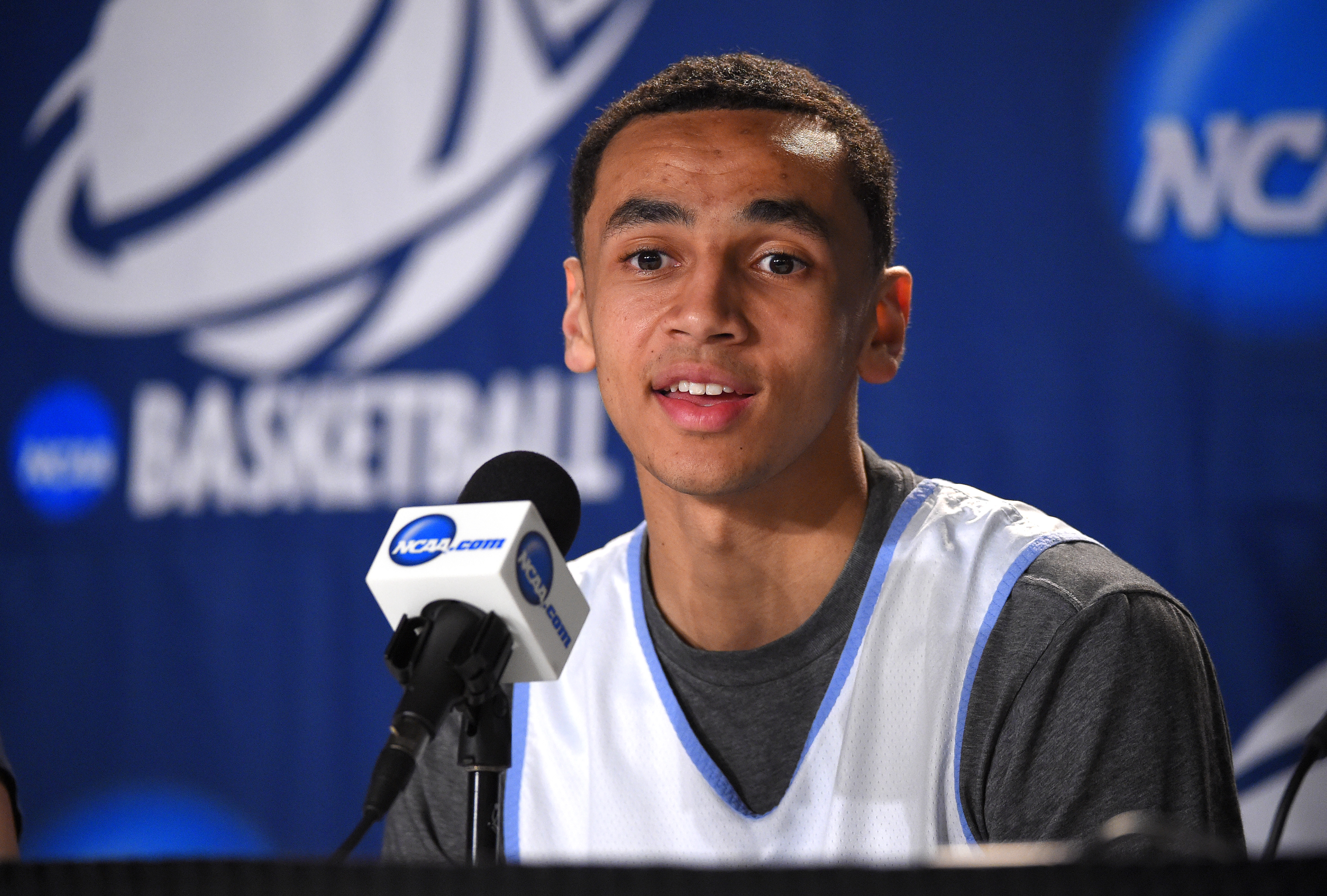 FILE - This March 25, 2015 file photo shows North Carolina guard Marcus Paige speaking during news conference in Los Angeles. The Tar Heels return four starters and nine of the top 10 starters from a 26-win team that reached the Sweet 16 of the NCAA Tourn