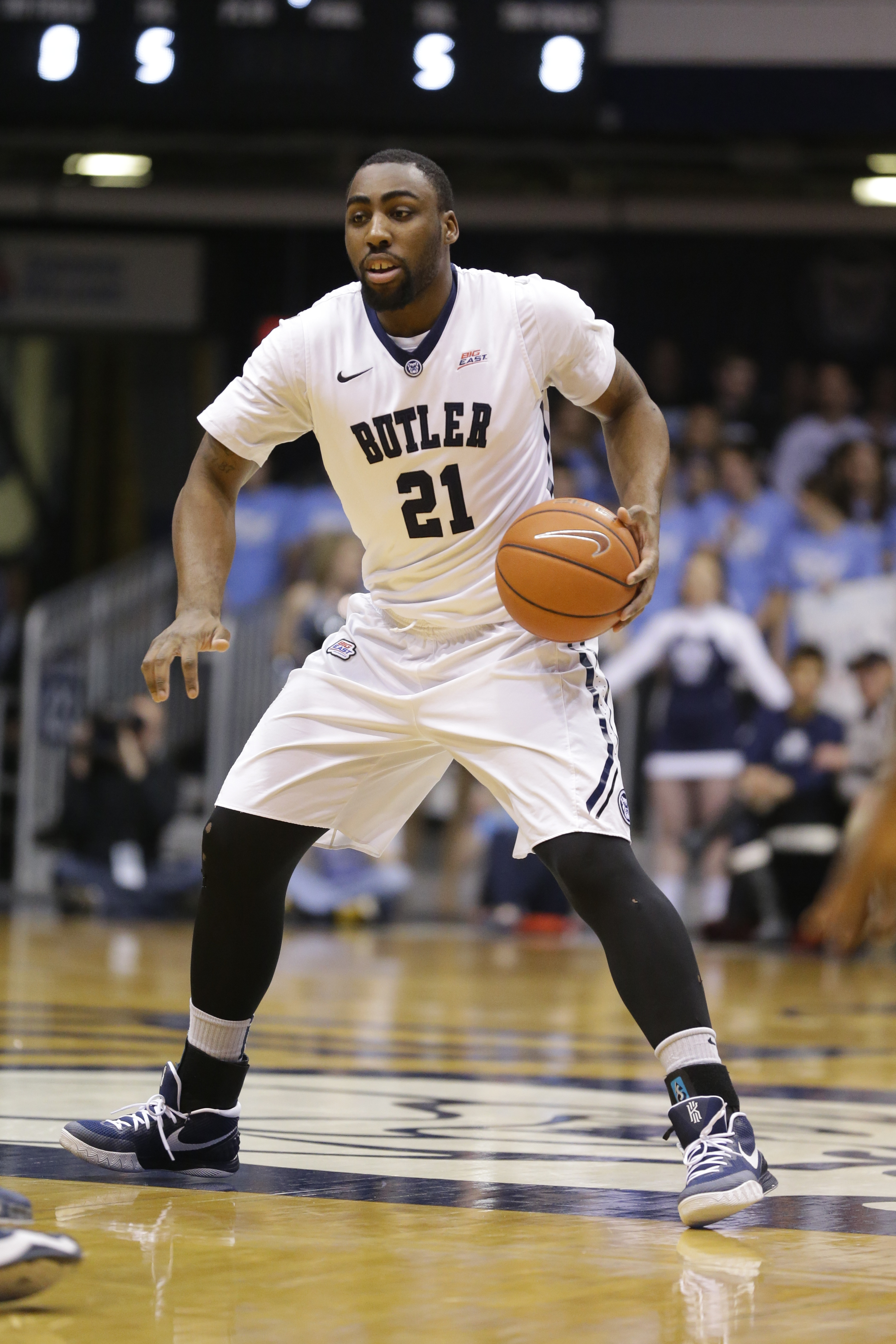 FILE - In this March 3, 2015,  file photo,  Butler forward Roosevelt Jones (21) plays in the first half of an NCAA college basketball game against Georgetown in Indianapolis, Tuesday. Butler, ranked No. 24, faces Citadel to open the season on Saturday.  (