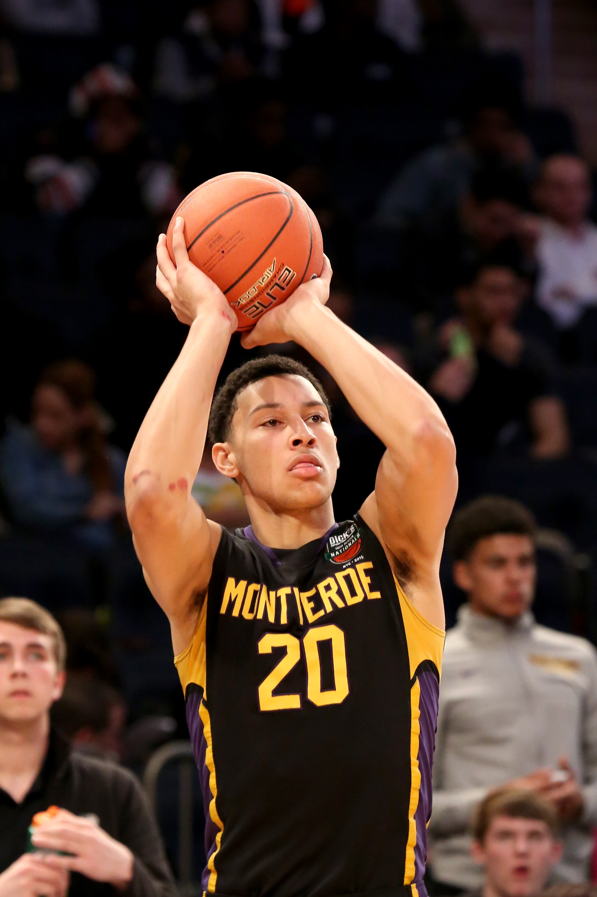 FILE - In this April 4, 2015, file photo, Montverde Academy's Ben Simmons warms up against Oak Hill Academy in the DICK'S Sporting Goods High School National Basketball Tournament Final at Madison Square Garden in New York.  LSU freshman Ben Simmons was s
