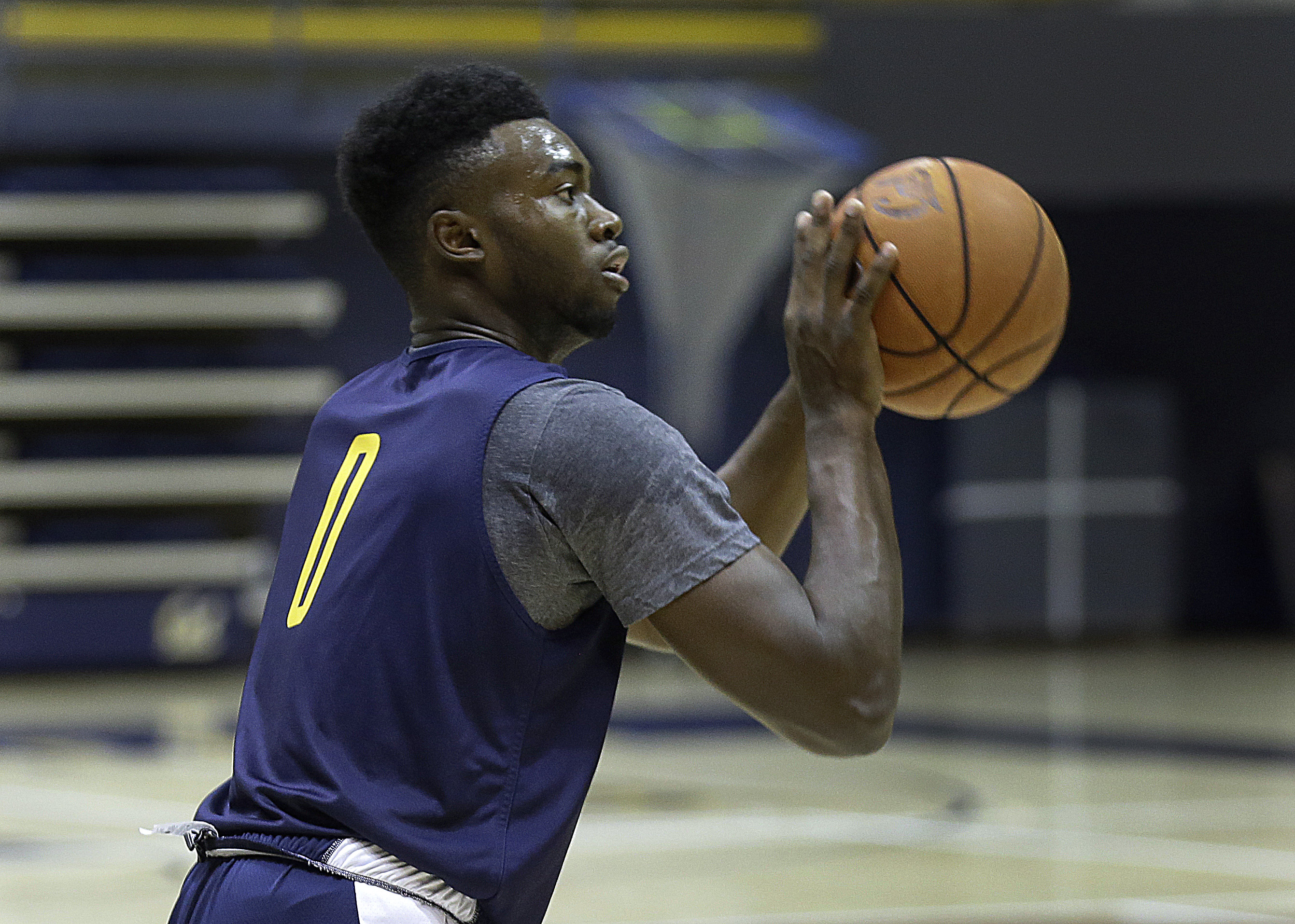 FILE - In this Oct. 7, 2015, file photo, California's Jaylen Brown shoots during basketball practice in Berkeley, Calif. Brown is expected to be one of the top freshmen in the country this season.. (AP Photo/Ben Margot, File)