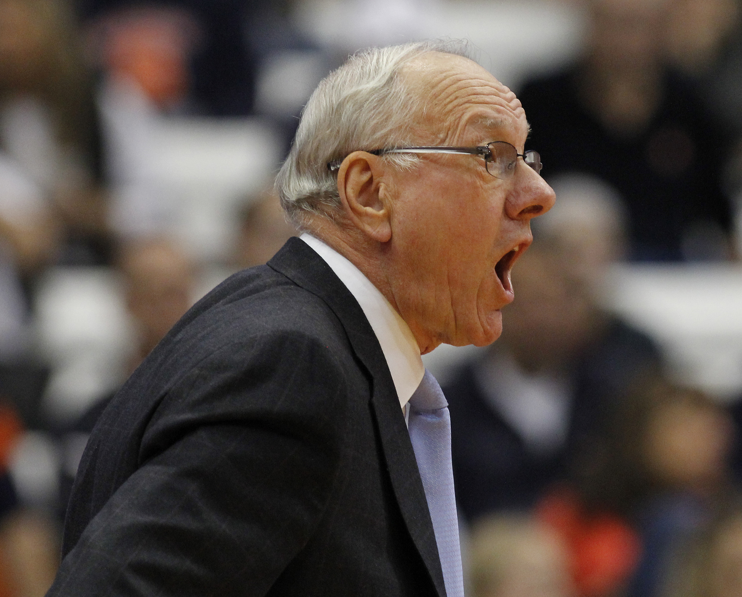Syracuse head coach Jim Boeheim yells to his players in the first half of an NCAA college basketball game against Lehigh in Syracuse, N.Y., Friday, Nov. 13, 2015. (AP Photo/Nick Lisi)
