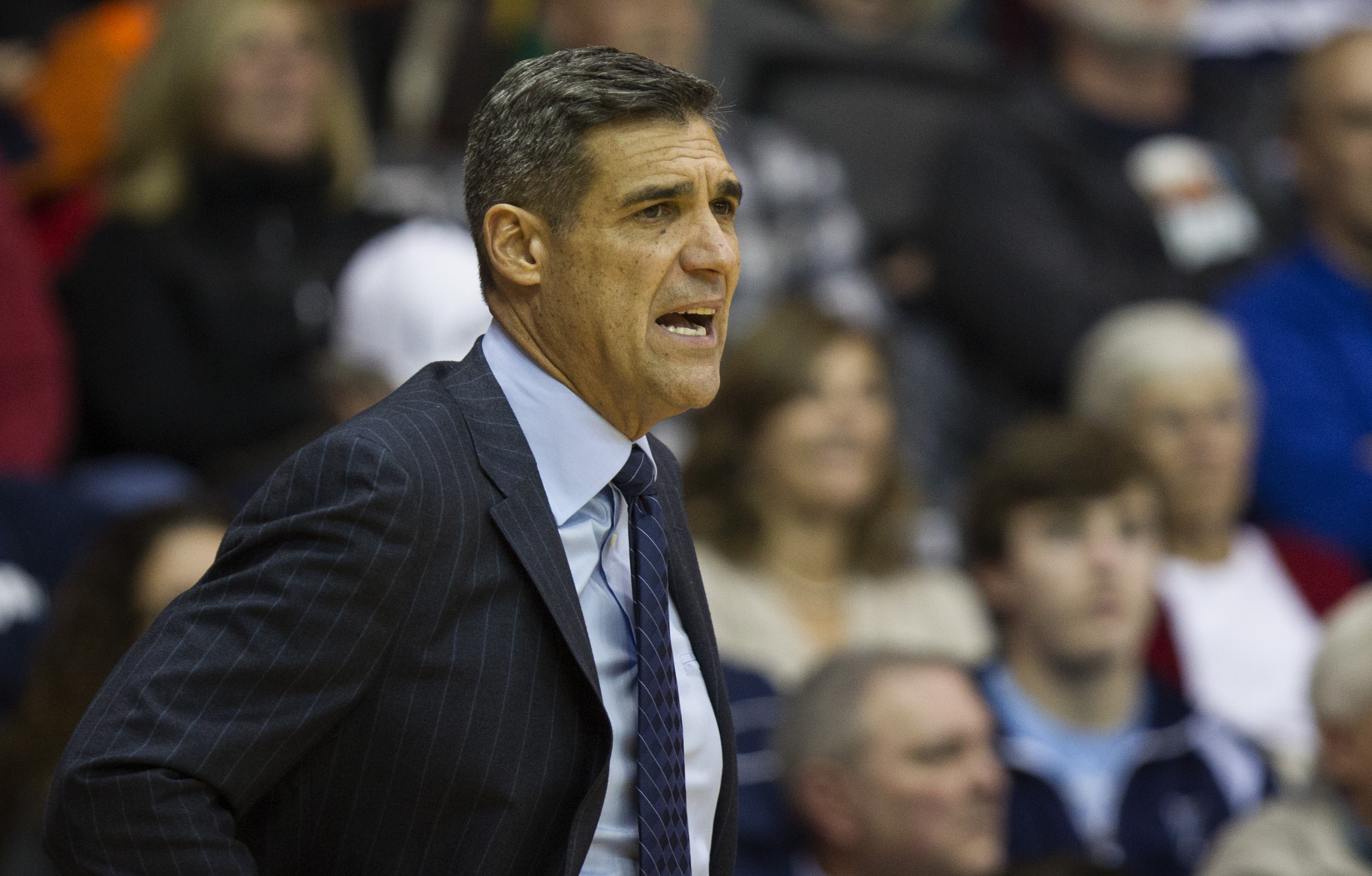 Villanova coach Jay Wright shouts from the bench in the first half of an NCAA college basketball game against Fairleigh Dickinson, Friday, Nov. 13, 2015, in Villanova, Pa.  (AP Photo/Laurence Kesterson)