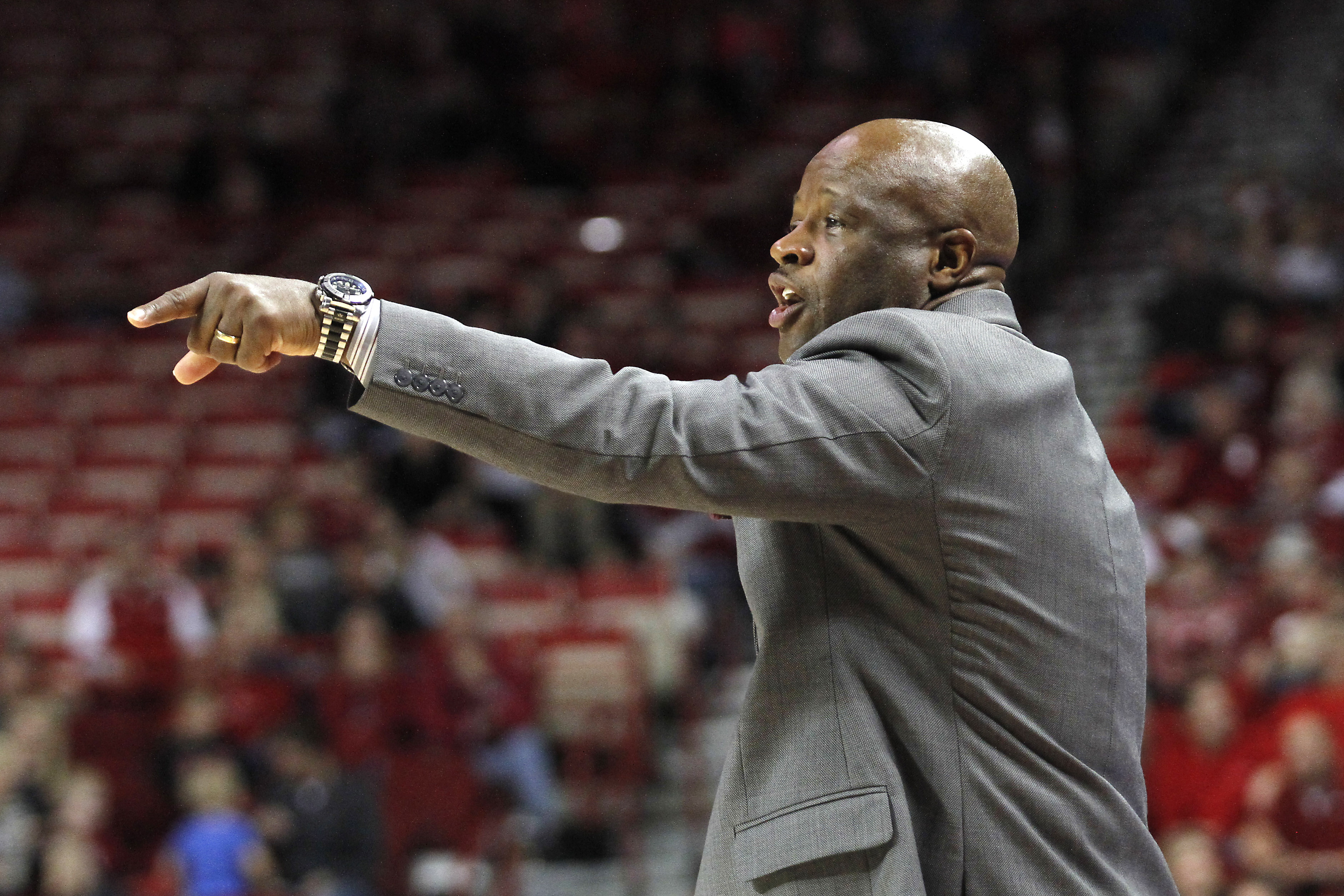 Arkansas' Mike Anderson shouts to his players during the first half of an NCAA college basketball game against Southern University, Friday, Nov. 13, 2015, in Fayetteville, Ark. (AP Photo/Samantha Baker)