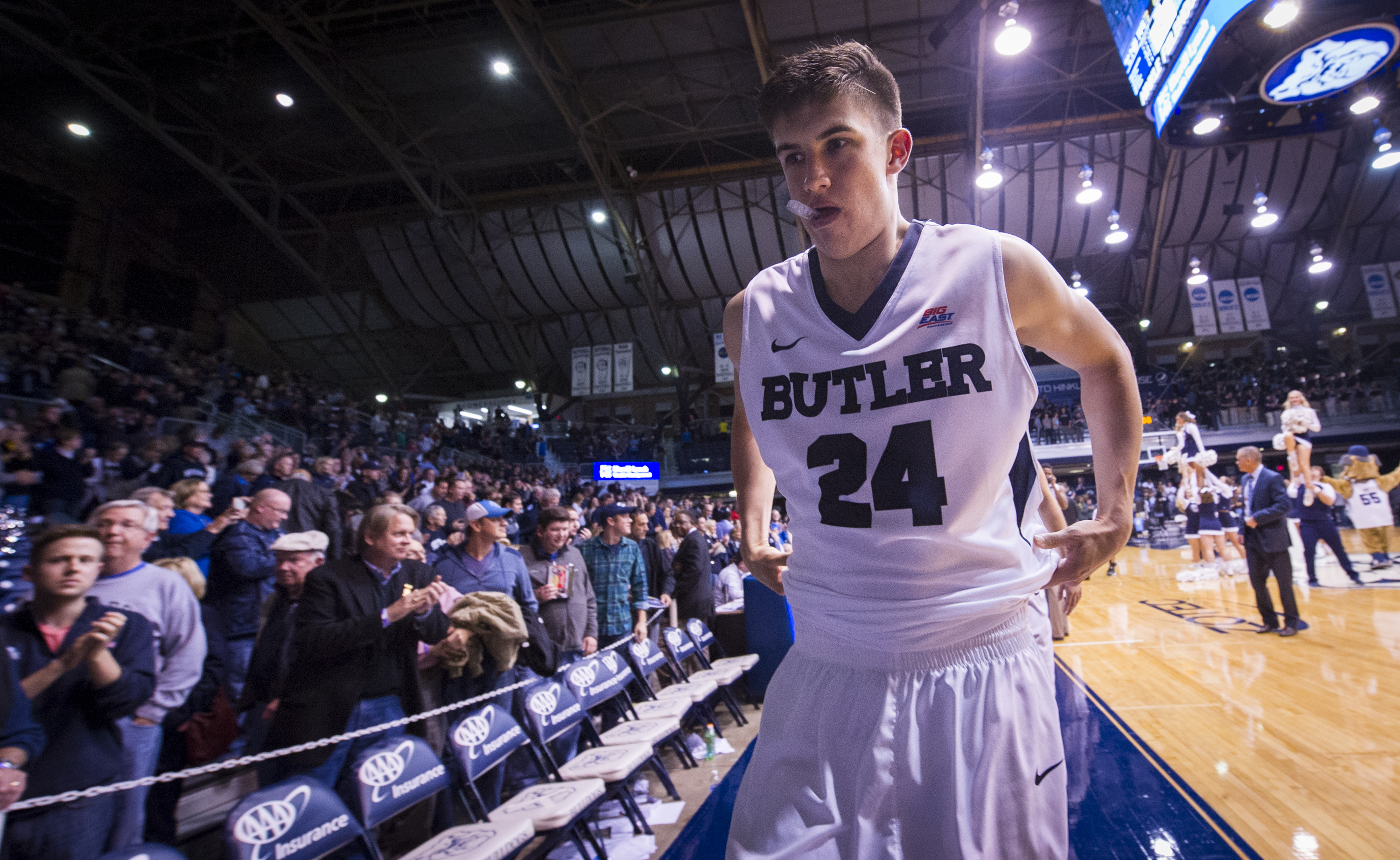 Butler guard Kellen Dunham (24) walks off the court after an NCAA college basketball game, Saturday, Nov. 14, 2015, in Indianapolis, in which he scored 24 points against Citadel. Butler won 144-71, setting a new school scoring record. (AP Photo/Doug McSch