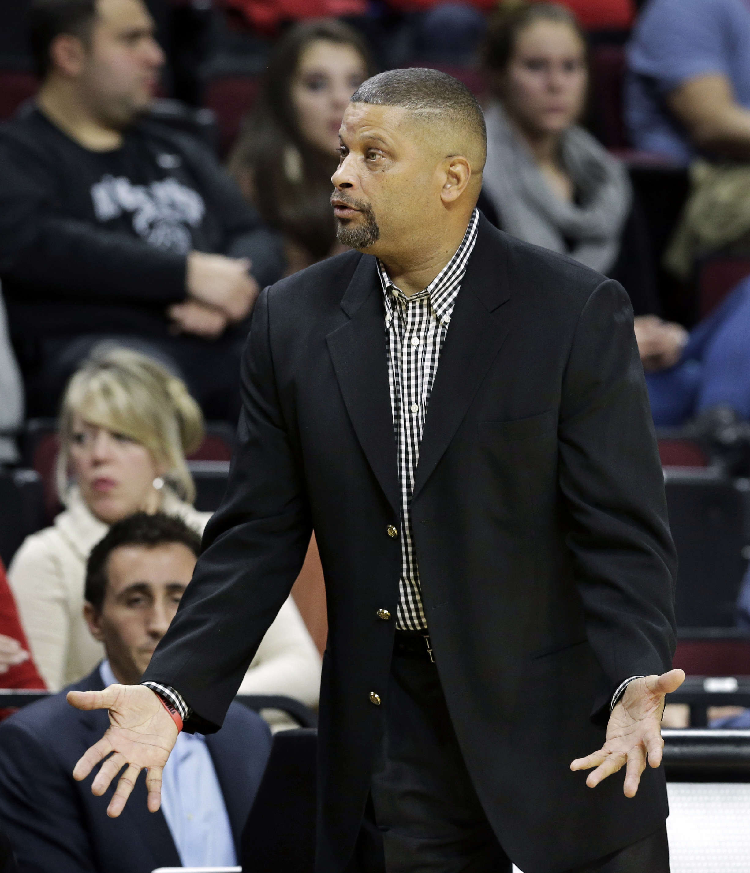 Rutgers head coach Eddie Jordan reacts to a call during the first half of an NCAA college basketball game against Howard, Sunday, Nov. 15, 2015, in Piscataway, N.J. (AP Photo/Mel Evans)
