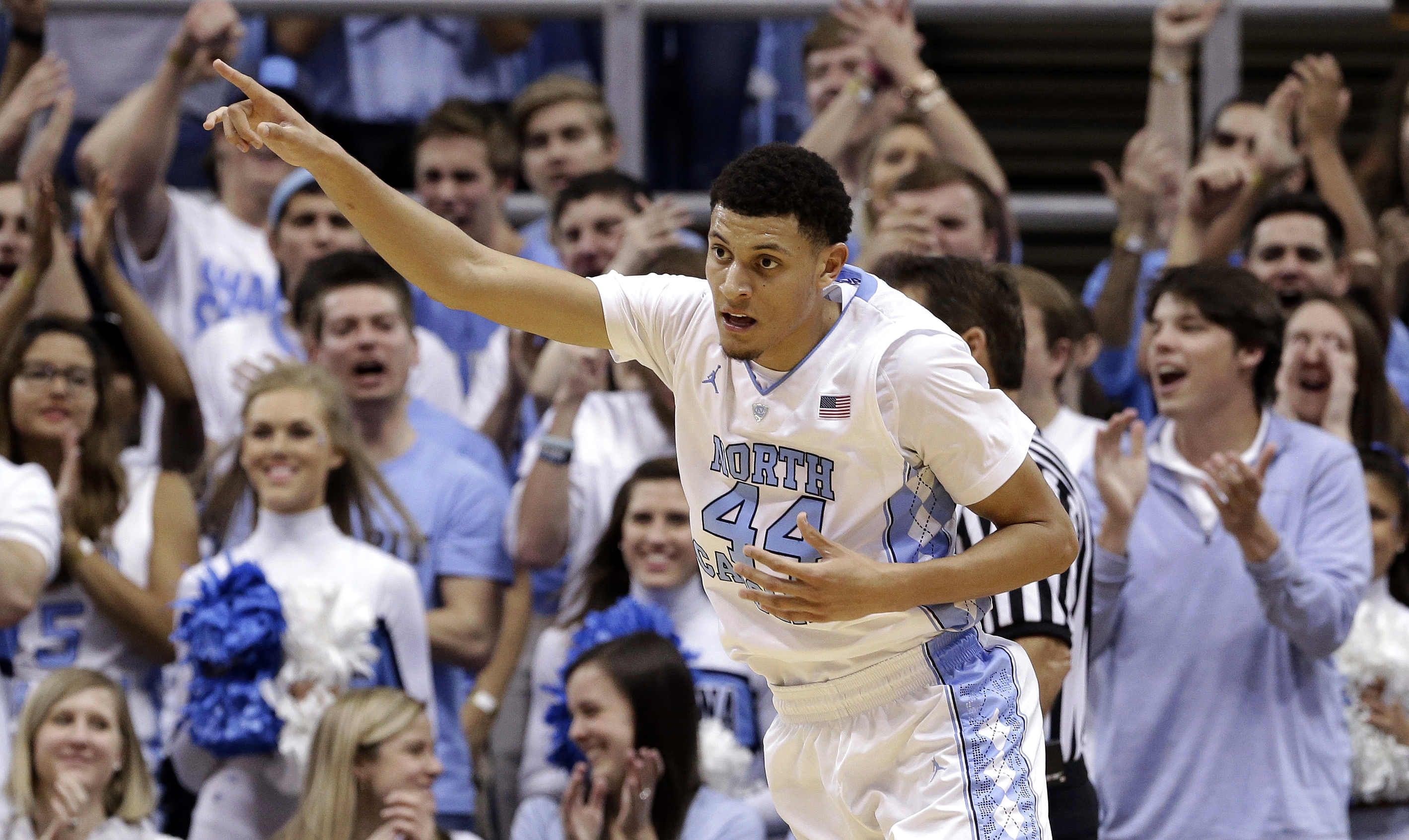 North Carolina's Justin Jackson (44) reacts following a basket against Fairfield during the second half of an NCAA college basketball game in Chapel Hill, N.C., Sunday, Nov. 15, 2015. North Carolina won 92-65. (AP Photo/Gerry Broome)