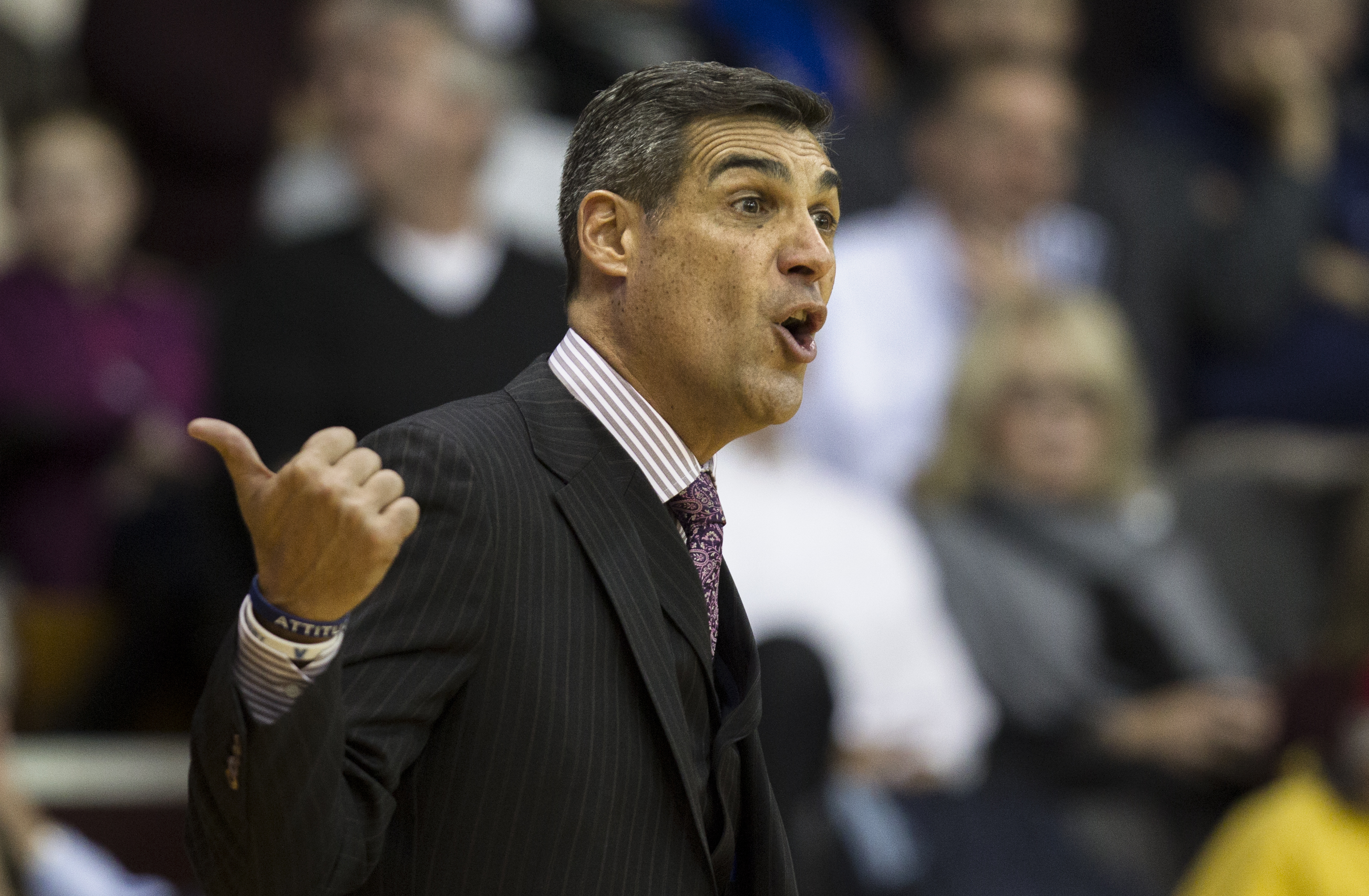 Villanova coach Jay Wright shouts from the bench in the first half of an NCAA college basketball game against Nebraska, Tuesday, Nov. 17, 2015, in Villanova, Pa. (AP Photo/Laurence Kesterson)