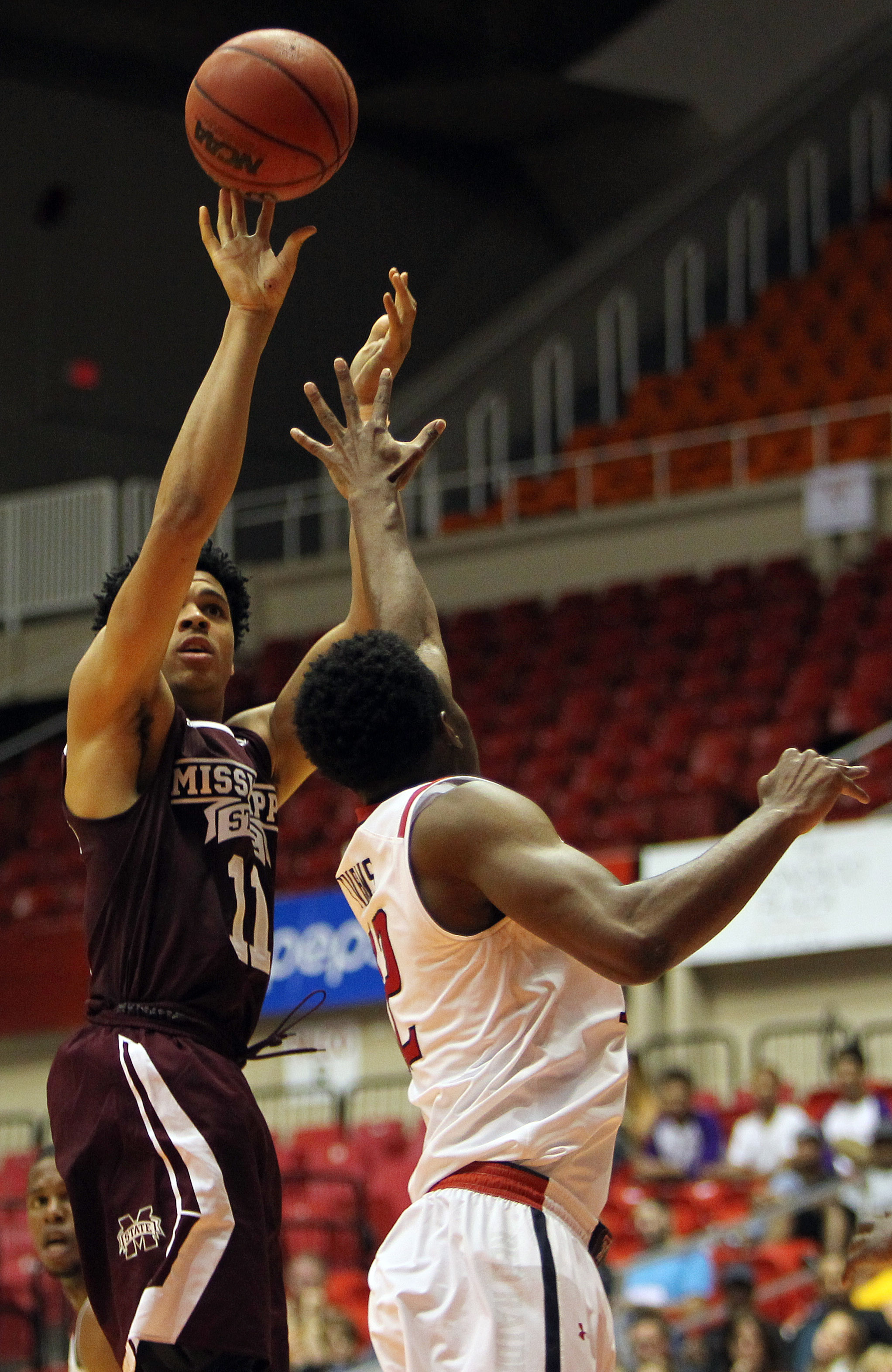 Mississippi St. guard Quinndary Weatherspoon, left, goes to the basket against Texas Tech guard Keenan Evans during the Puerto Rico Tip-Off college basketball tournament in San Juan, Friday, Nov. 20, 2015. (AP Photo/Ricardo Arduengo)