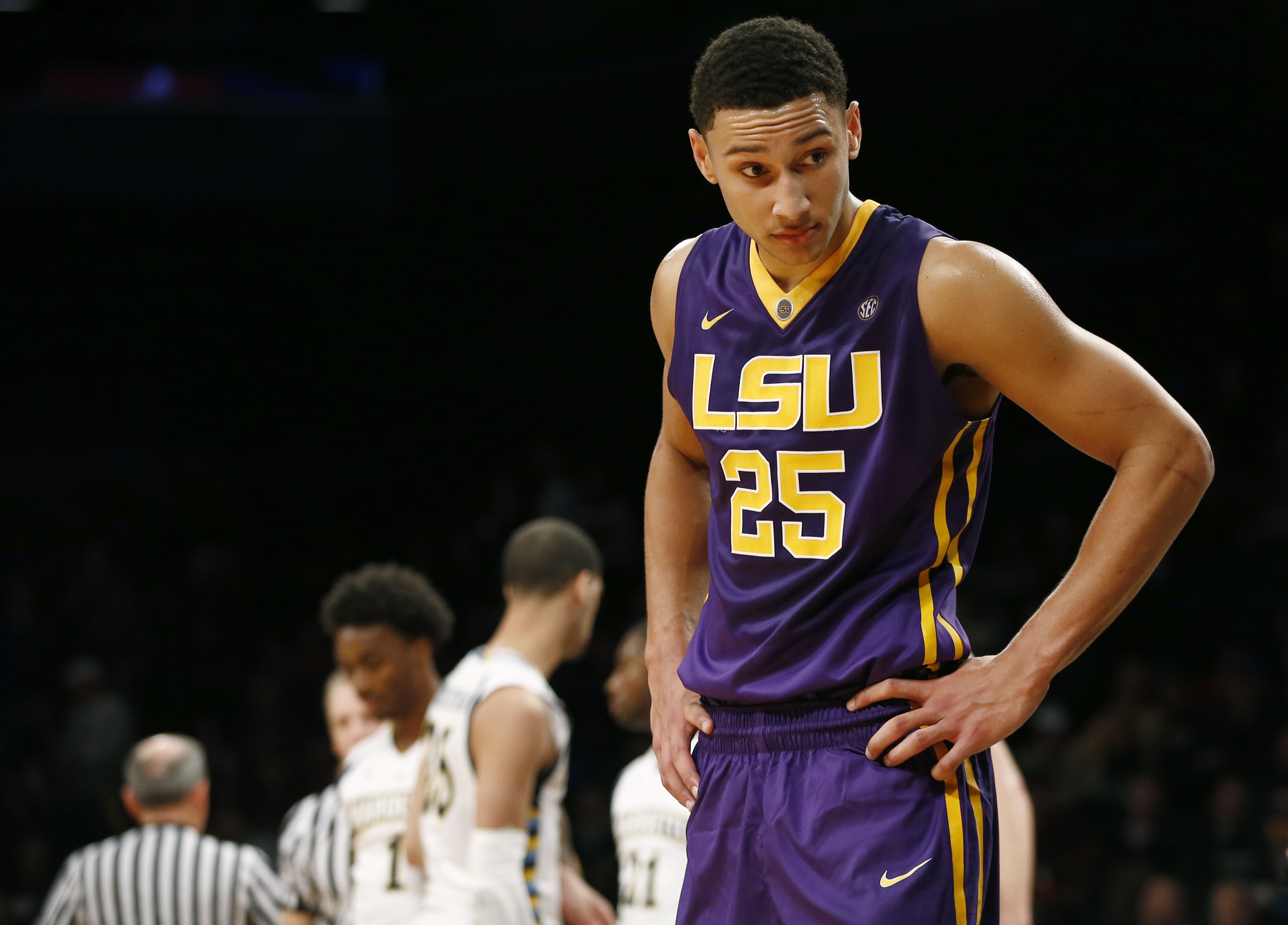 LSU forward Ben Simmons (25) reacts during the second half of the Legends Classic semifinal against Marquette in an NCAA college basketball game Monday, Nov. 23, 2015, in New York.  Marquette upset LSU 81-80. (AP Photo/Kathy Willens)