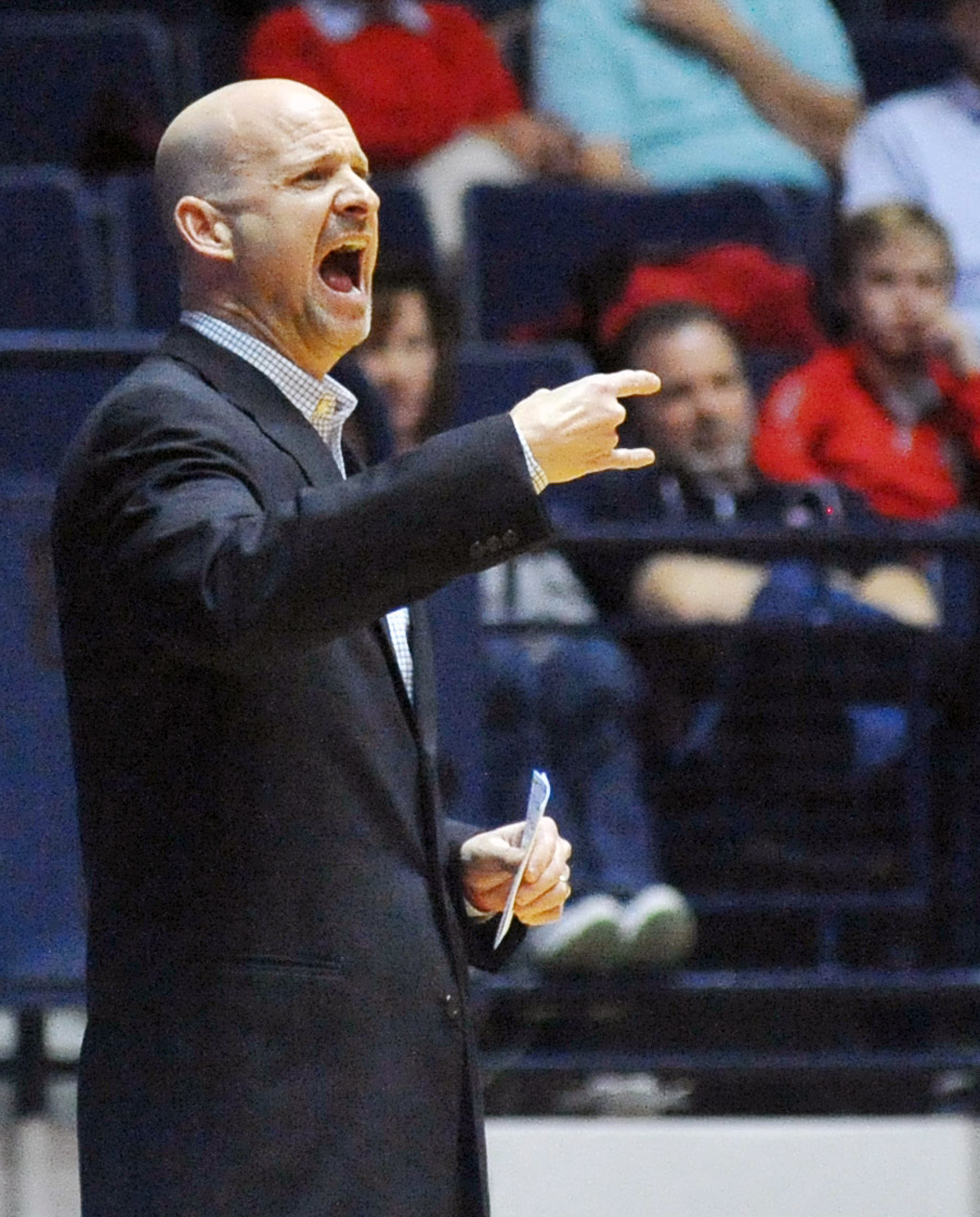 Mississippi head coach Andy Kennedy yells instructions during an NCAA college basketball game against Georgia State in Oxford, Miss., Wednesday, Nov. 25, 2015. (Bruce Newman/The Oxford Eagle via AP)  NO SALES; MANDATORY CREDIT