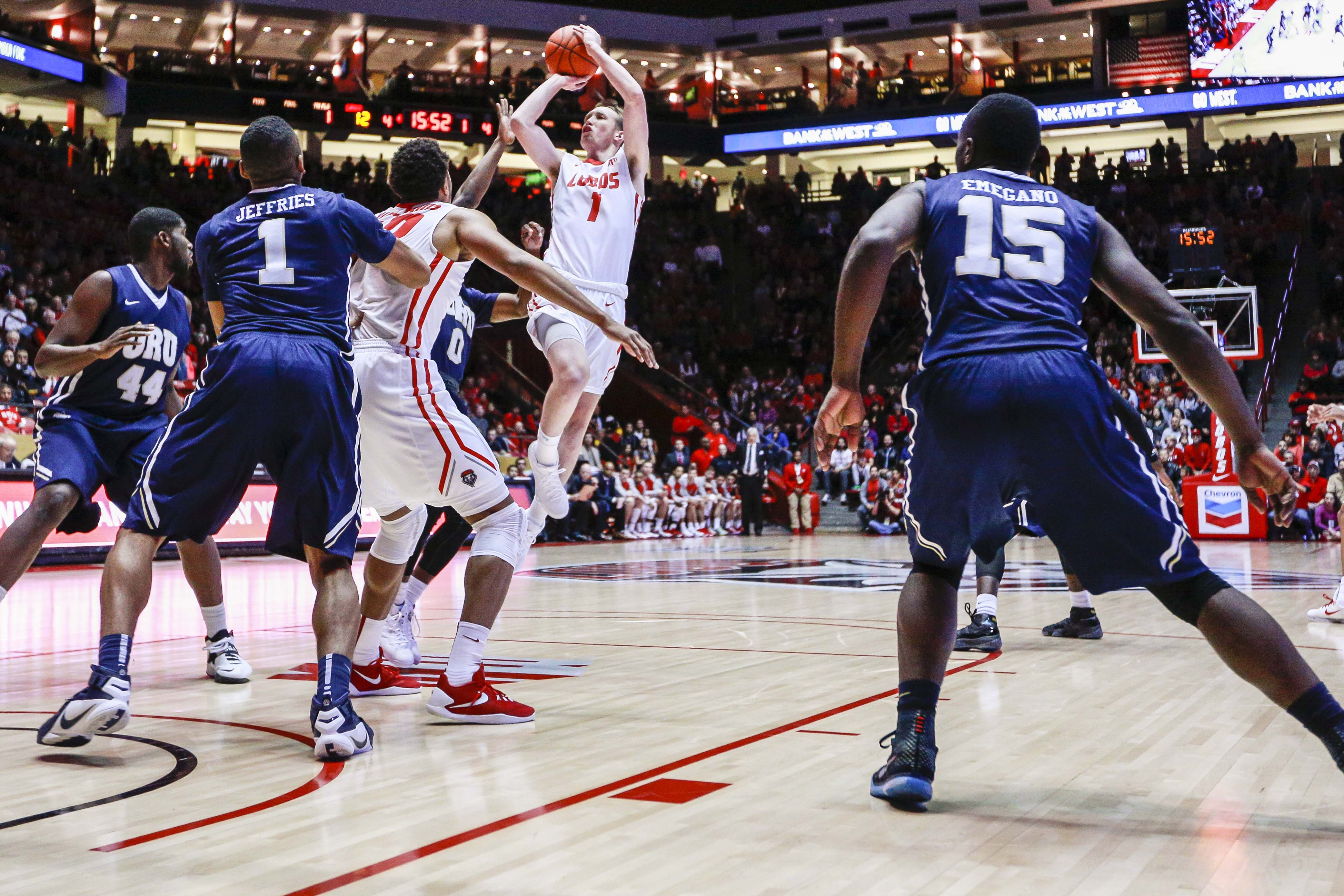 New Mexico's Cullen Neal (1) shoots during the first half of an NCAA college basketball game against Oral Roberts, Tuesday, Dec. 1, 2015, in Albuquerque, N.M. (AP Photo/Juan Labreche)