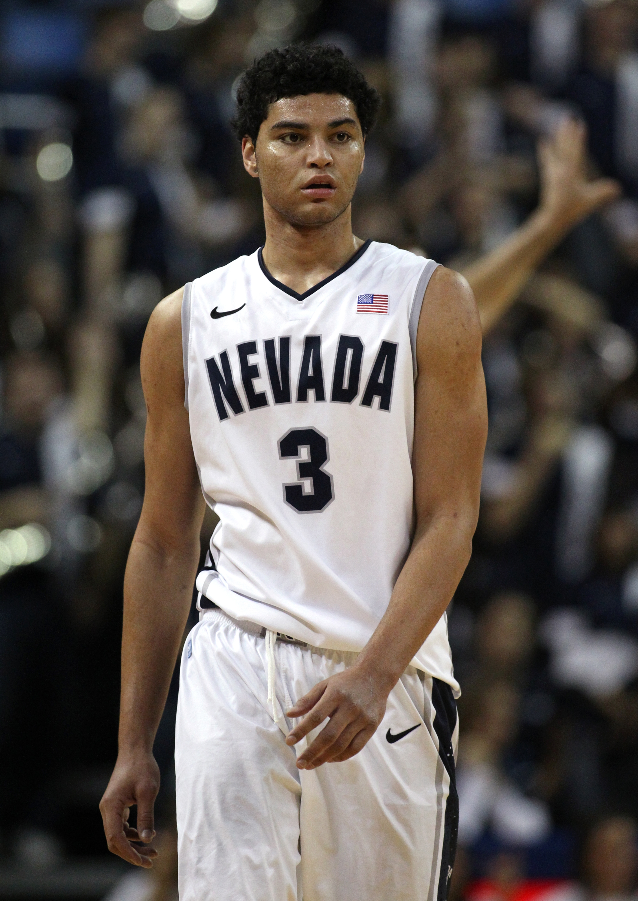 Nevada's AJ West competes in an NCAA basketball game against Air Force in Reno, Nev., on Saturday, Feb. 1, 2014. Nevada won 69-56 in overtime. (AP Photo/Cathleen Allison)