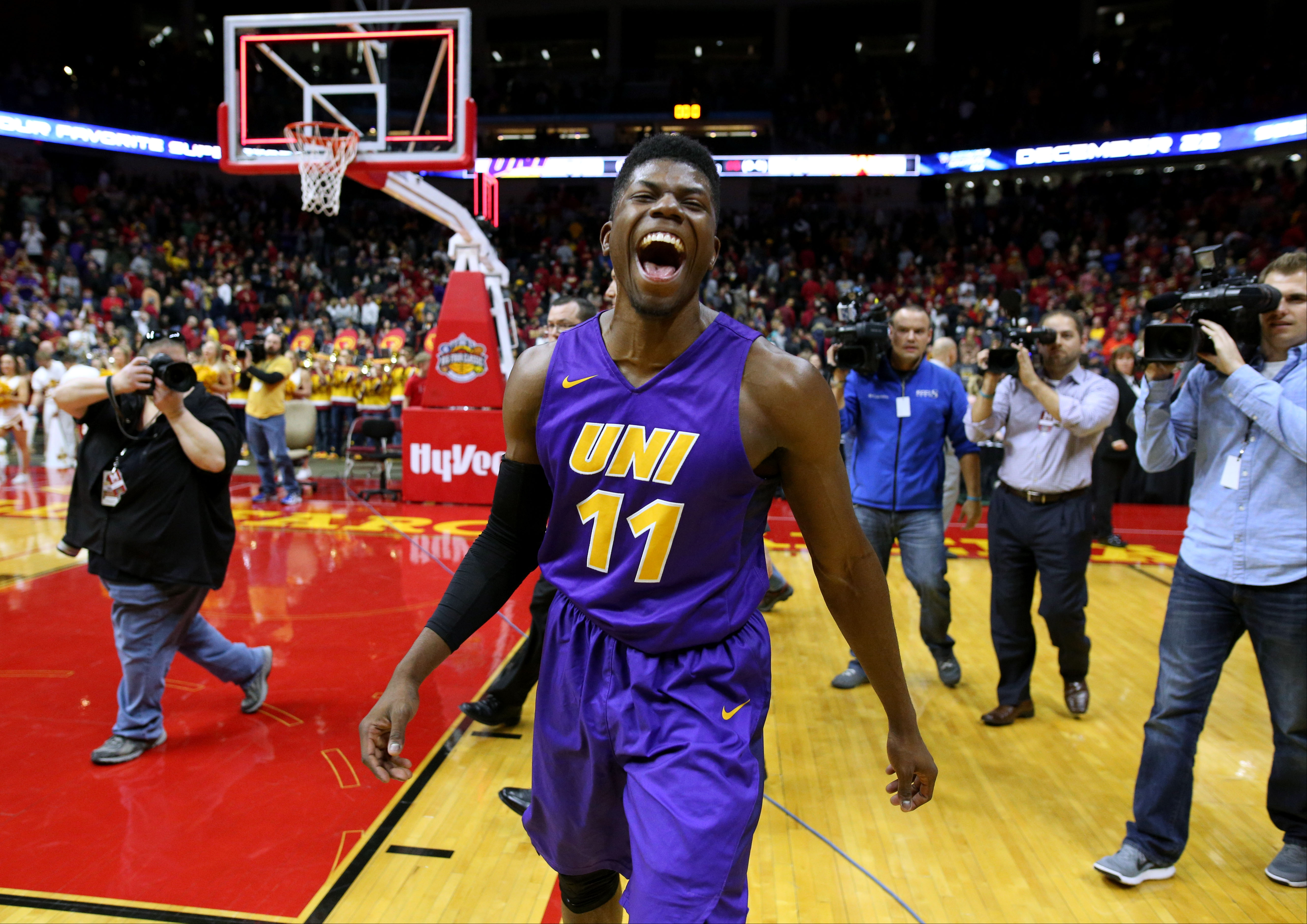 Northern Iowa guard Wes Washpun celebrates after the final buzzer at an NCAA college basketball game against Iowa State, Saturday, Dec. 19, 2015, in Des Moines, Iowa. Northern Iowa won 81-79. (AP Photo/Justin Hayworth)