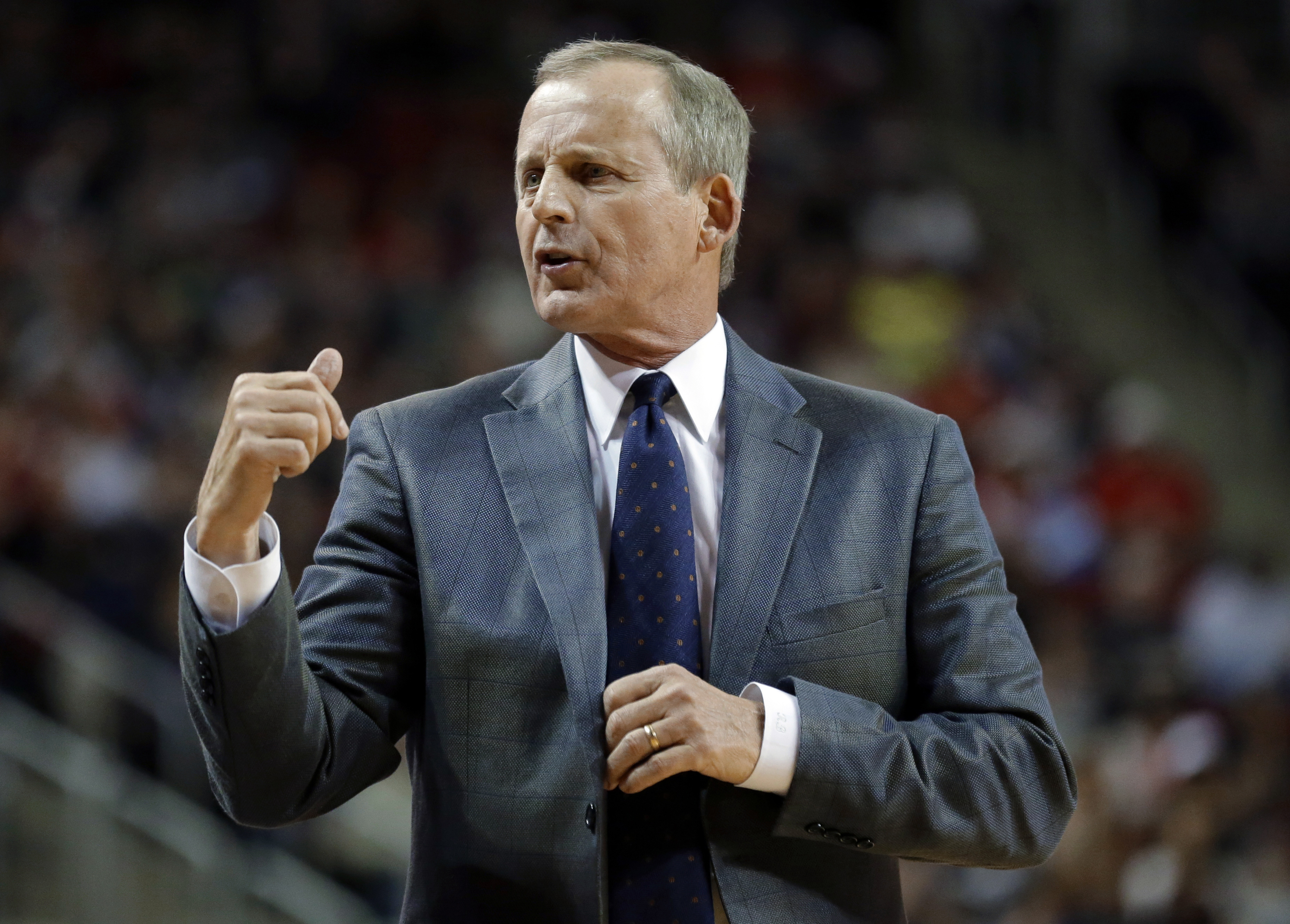 Tennessee coach Rick Barnes gestures from the sideline during the first half of an NCAA college basketball game against Gonzaga, Saturday, Dec. 19, 2015, in Seattle. (AP Photo/Ted S. Warren)