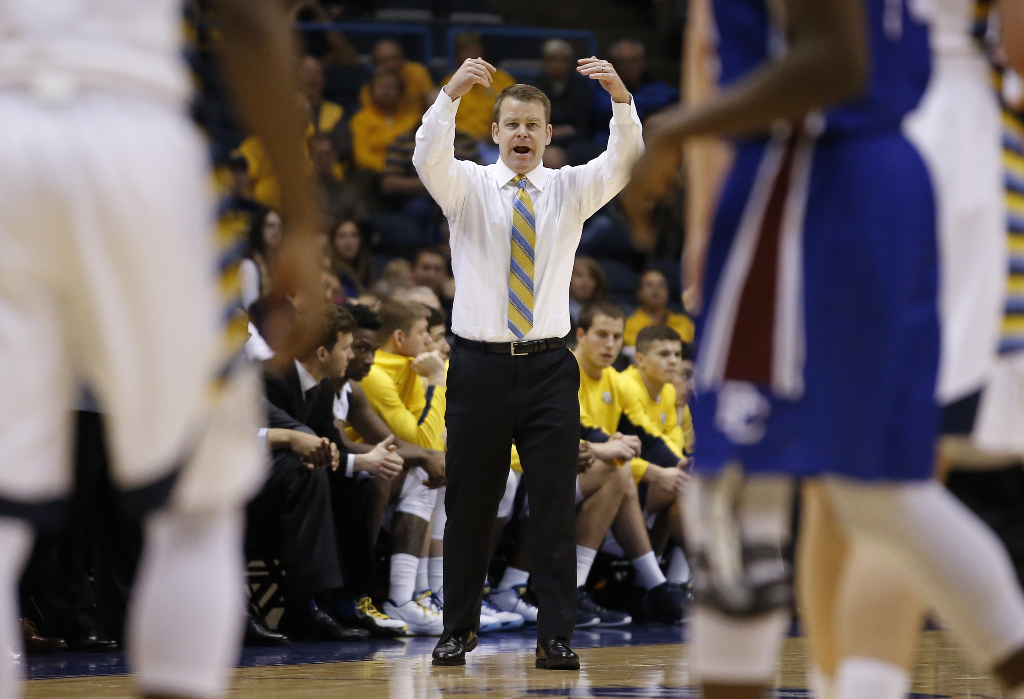 Marquette head coach Steve Wojciechowski reacts during the second half of an NCAA college basketball game against Presbyterian Sunday, Dec. 27, 2015, in Milwaukee. (AP Photo/Morry Gash)