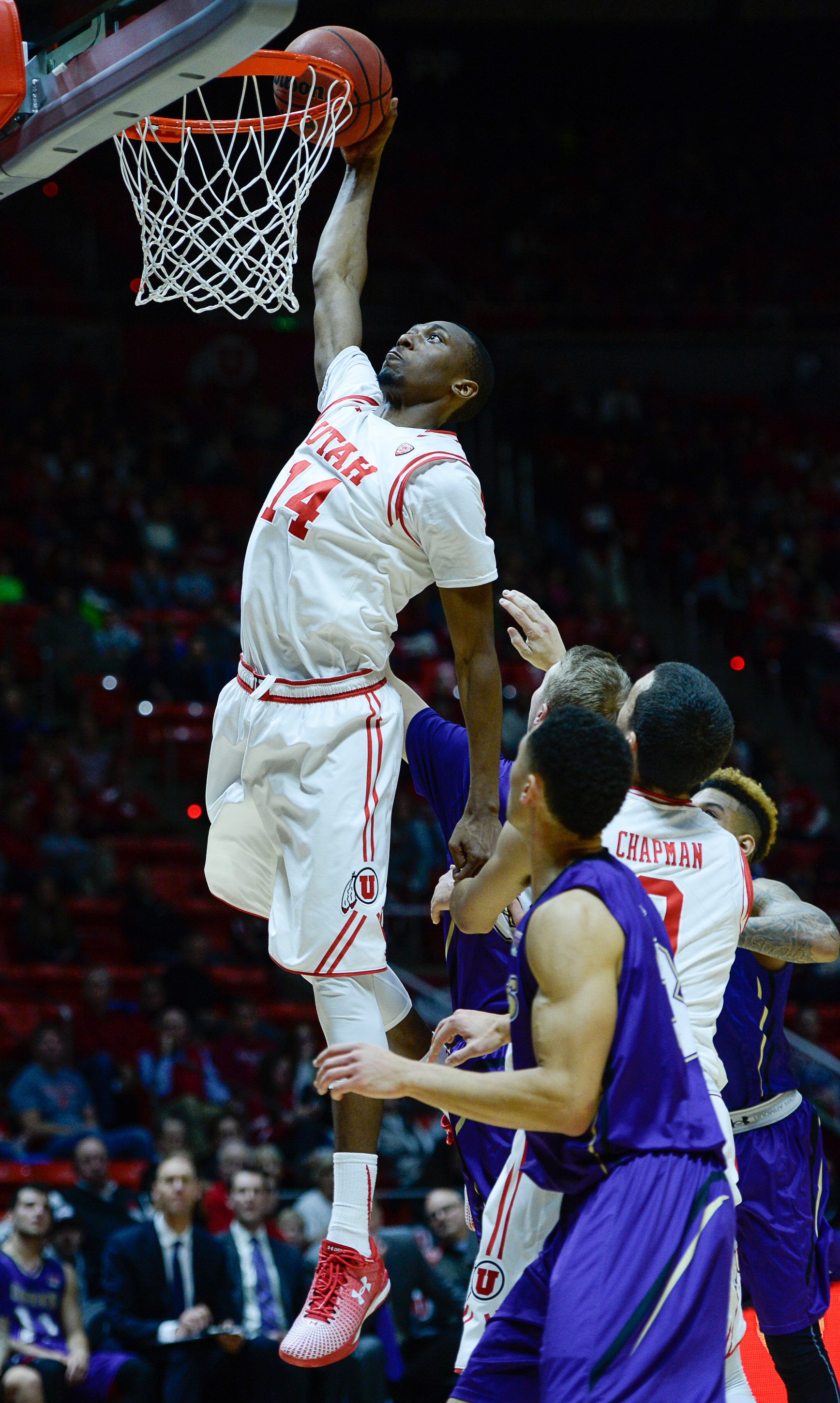 Utah forward Dakarai Tucker (14) tries for a dunk that bounces out against the College of Idaho during an NCAA college basketball game, Monday, Dec. 28, 2015 in Salt Lake City. (Francisco Kjolseth/The Salt Lake Tribune via AP) DESERET NEWS OUT; LOCAL TELE