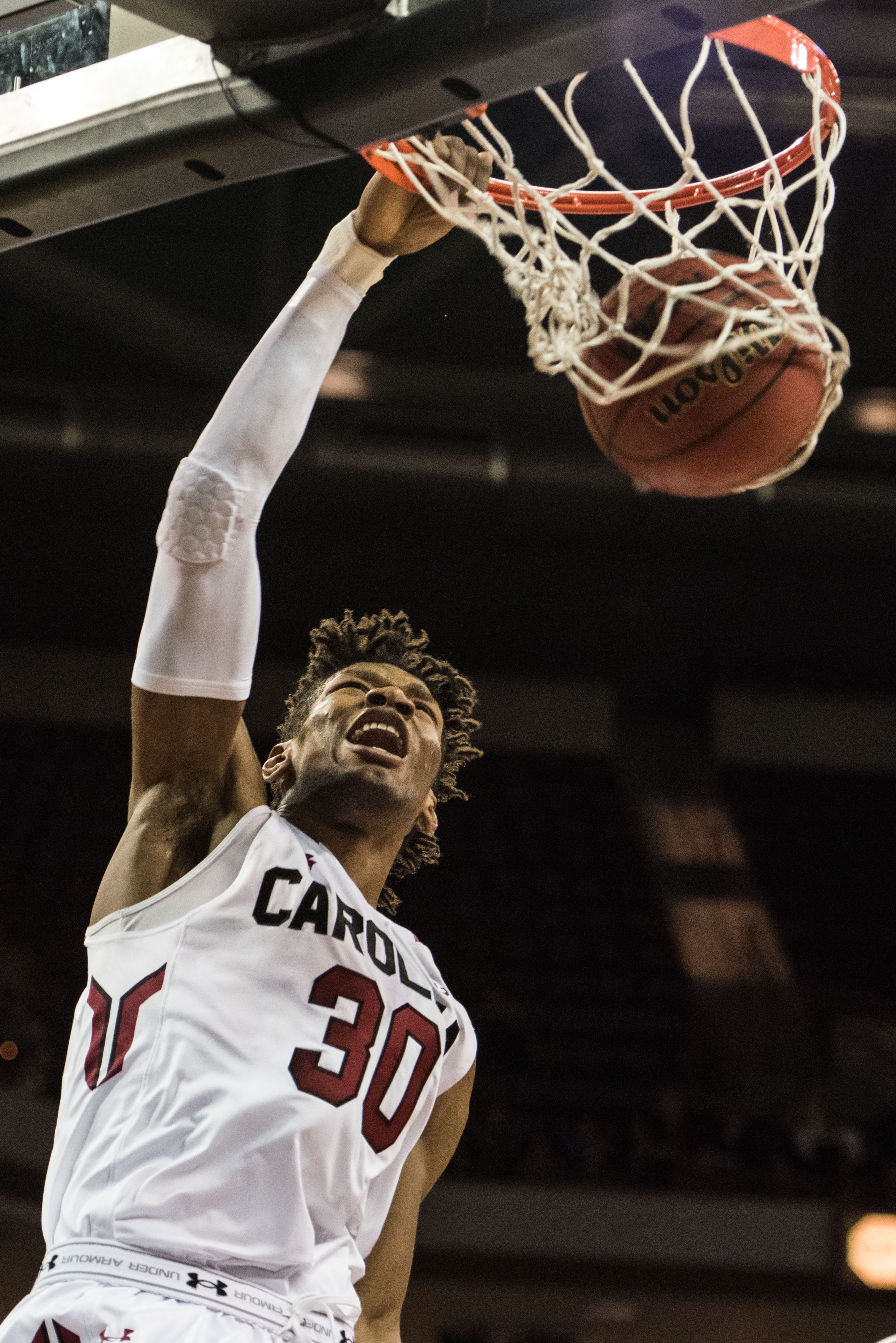 South Carolina forward Chris Silva dunks during the first half of the team's NCAA college basketball game against Francis Marion on Wednesday, Dec. 30, 2015, in Columbia, S.C. (AP Photo/Sean Rayford)