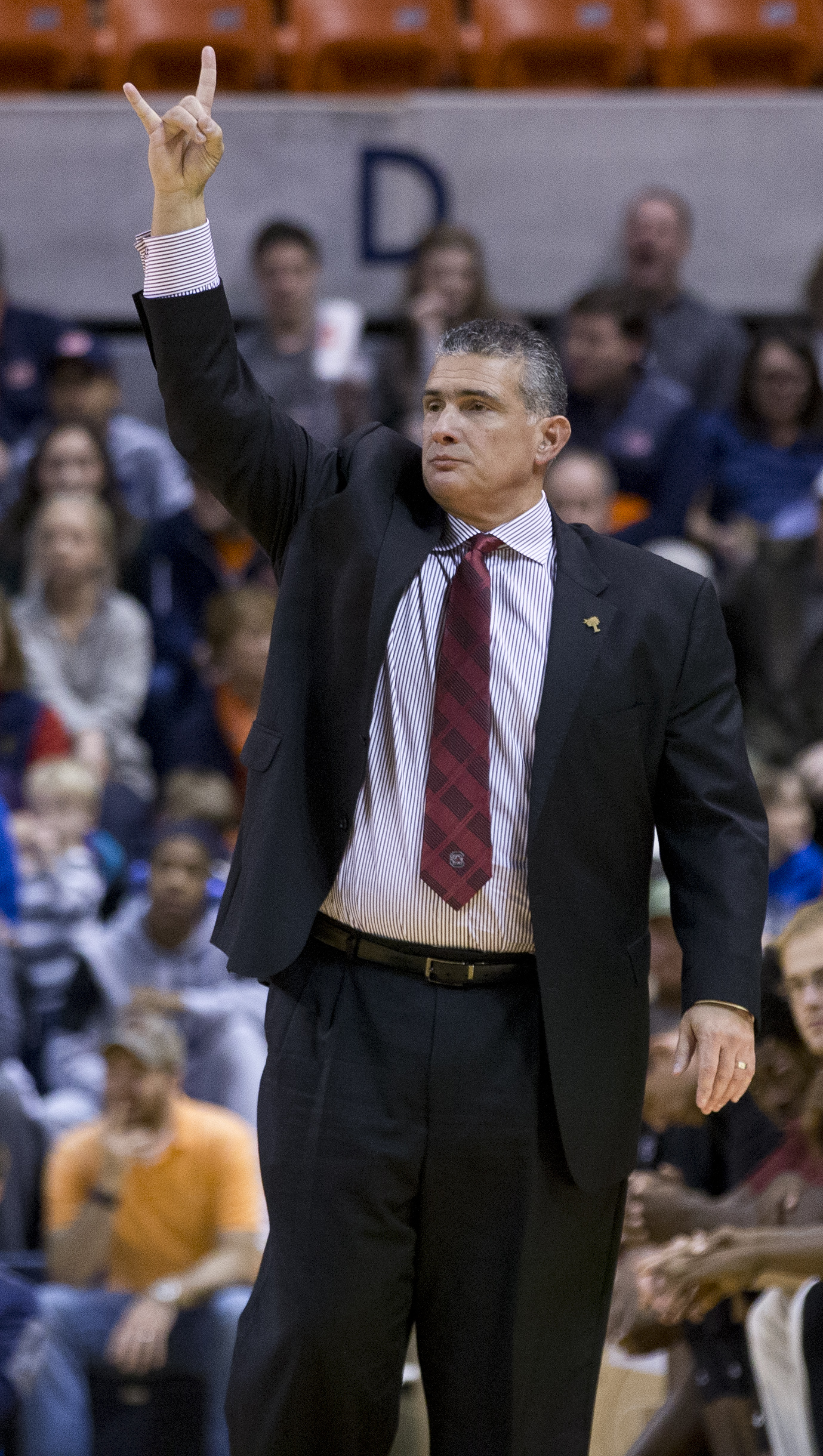 South Carolina head coach Frank Martin signals to his players during the first half of an NCAA college basketball game against Auburn, Tuesday, Jan. 5, 2016, in Auburn, Ala. (AP Photo/Brynn Anderson)