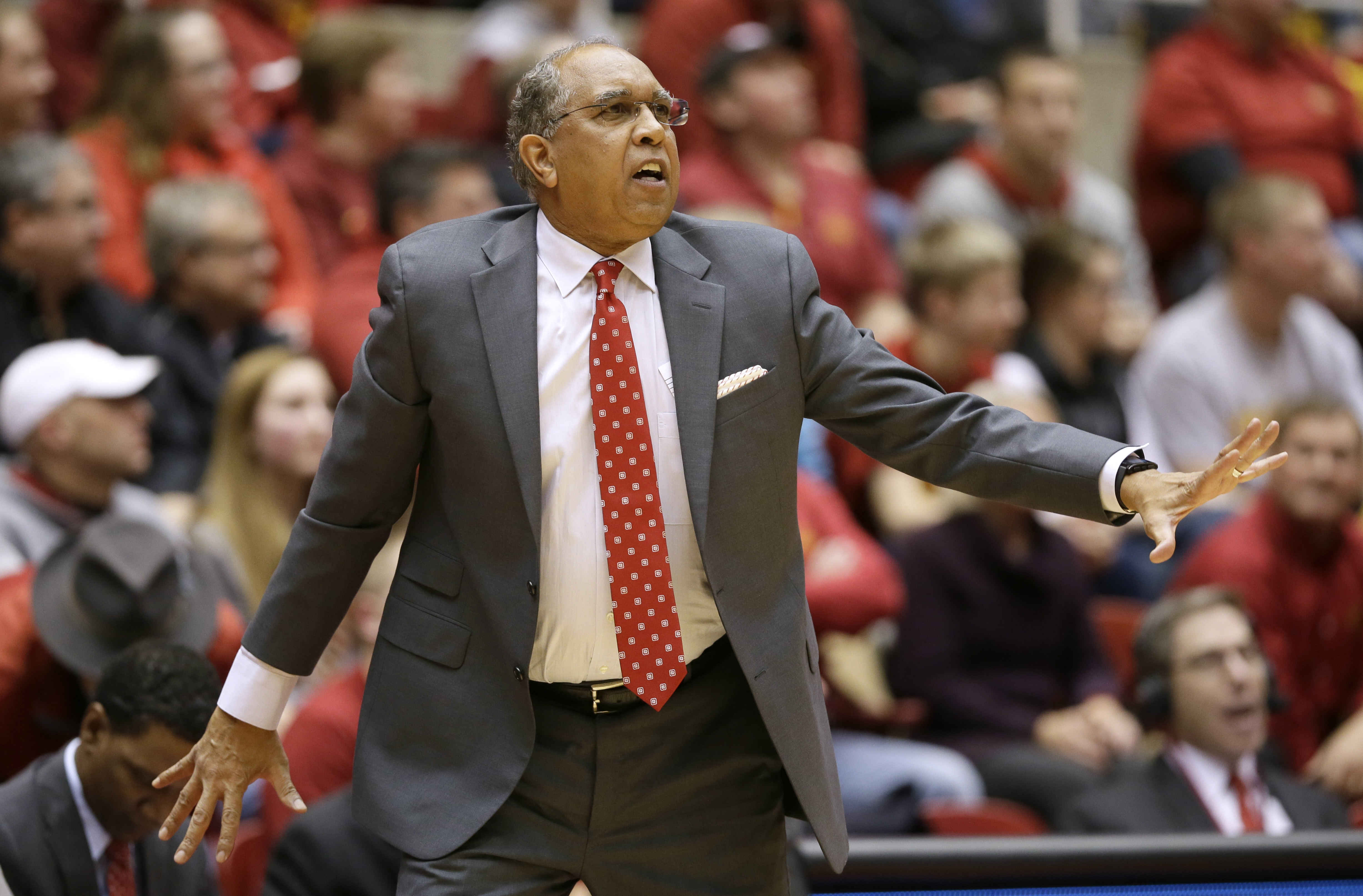 Texas Tech coach Tubby Smith talks to his team during the first half of an NCAA college basketball game against Iowa State, Wednesday, Jan. 6, 2016, in Ames, Iowa. (AP Photo/Charlie Neibergall)