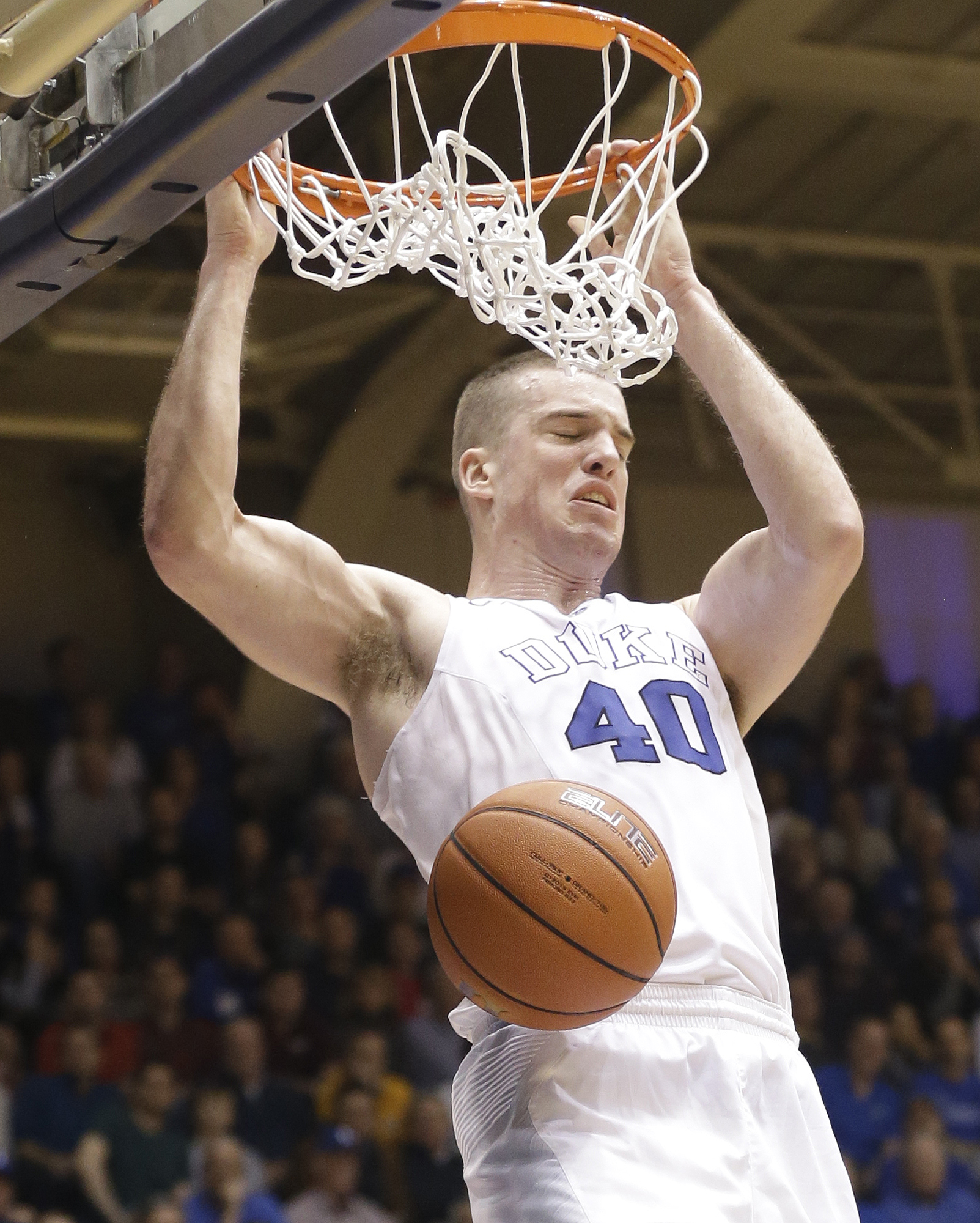 Duke's Marshall Plumlee (40) dunks against Virginia Tech during the second half of an NCAA college basketball game in Durham, N.C., Saturday, Jan. 9, 2016. Duke won 82-58. (AP Photo/Gerry Broome)