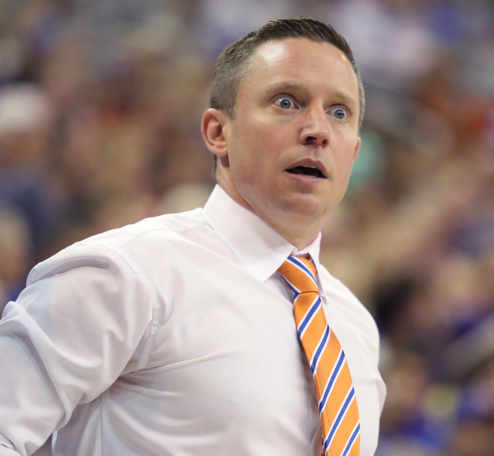 Florida coach Mike White reacts to an official's call during an NCAA college football game against LSU, Saturday, Jan. 9, 2016, in Gainesville, Fla. Florida won 68-62.(Stephen M. Dowell/Orlando Sentinel via AP) MAGS OUT; NO SALES; MANDATORY CREDIT