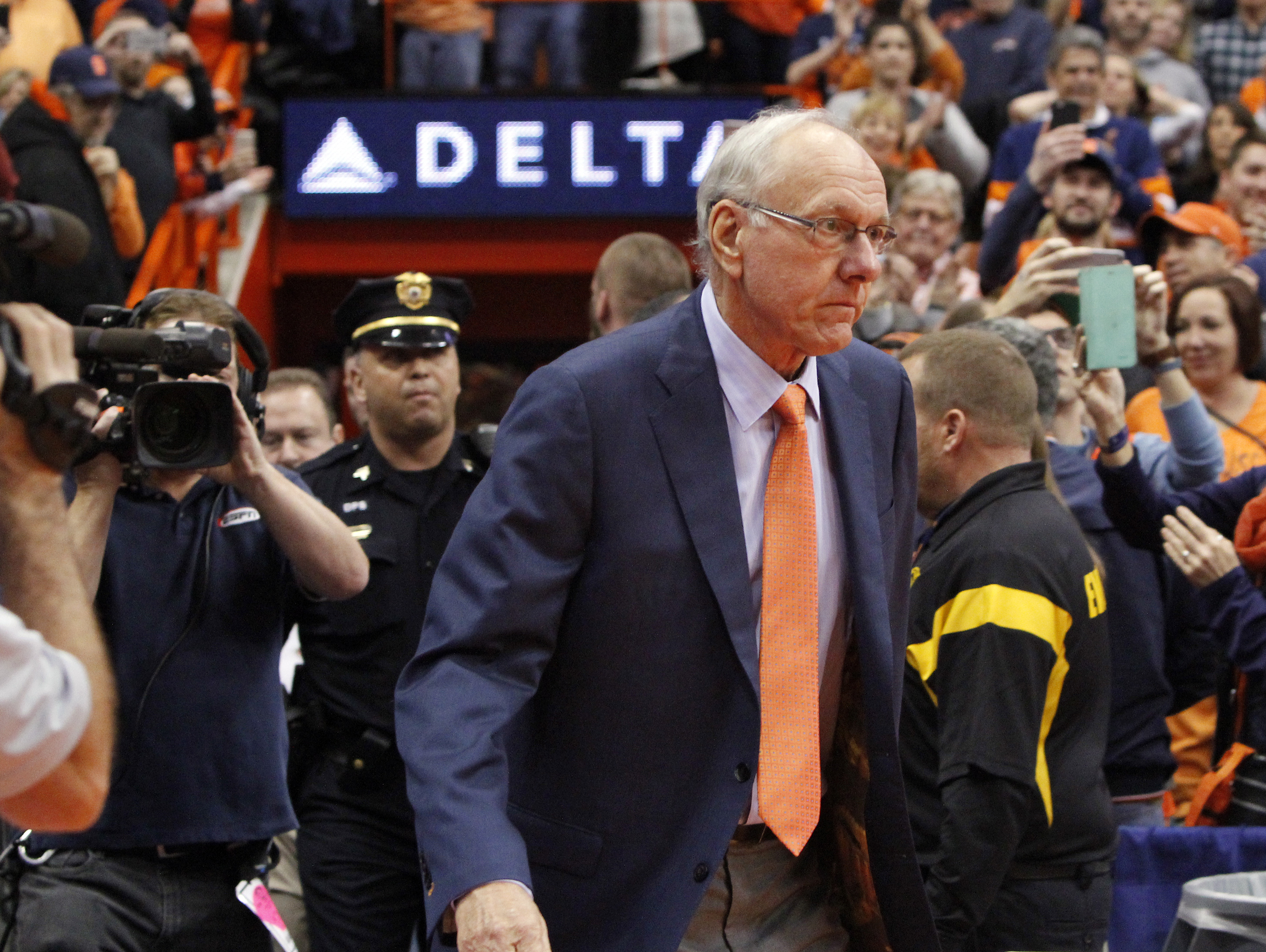 Syracuse head coach Jim Boeheim walks onto the court before an NCAA college basketball game against North Carolina in Syracuse, N.Y., Saturday, Jan. 9, 2016. (AP Photo/Nick Lisi)