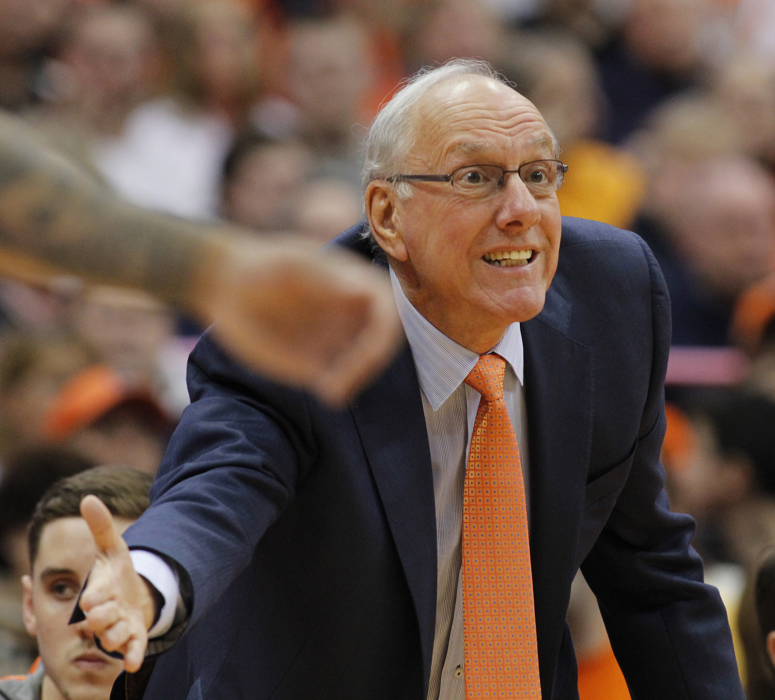 Syracuse head coach Jim Boeheim yells to his players in the first half of an NCAA college basketball game against North Carolina in Syracuse, N.Y., Saturday, Jan. 9, 2016. (AP Photo/Nick Lisi)
