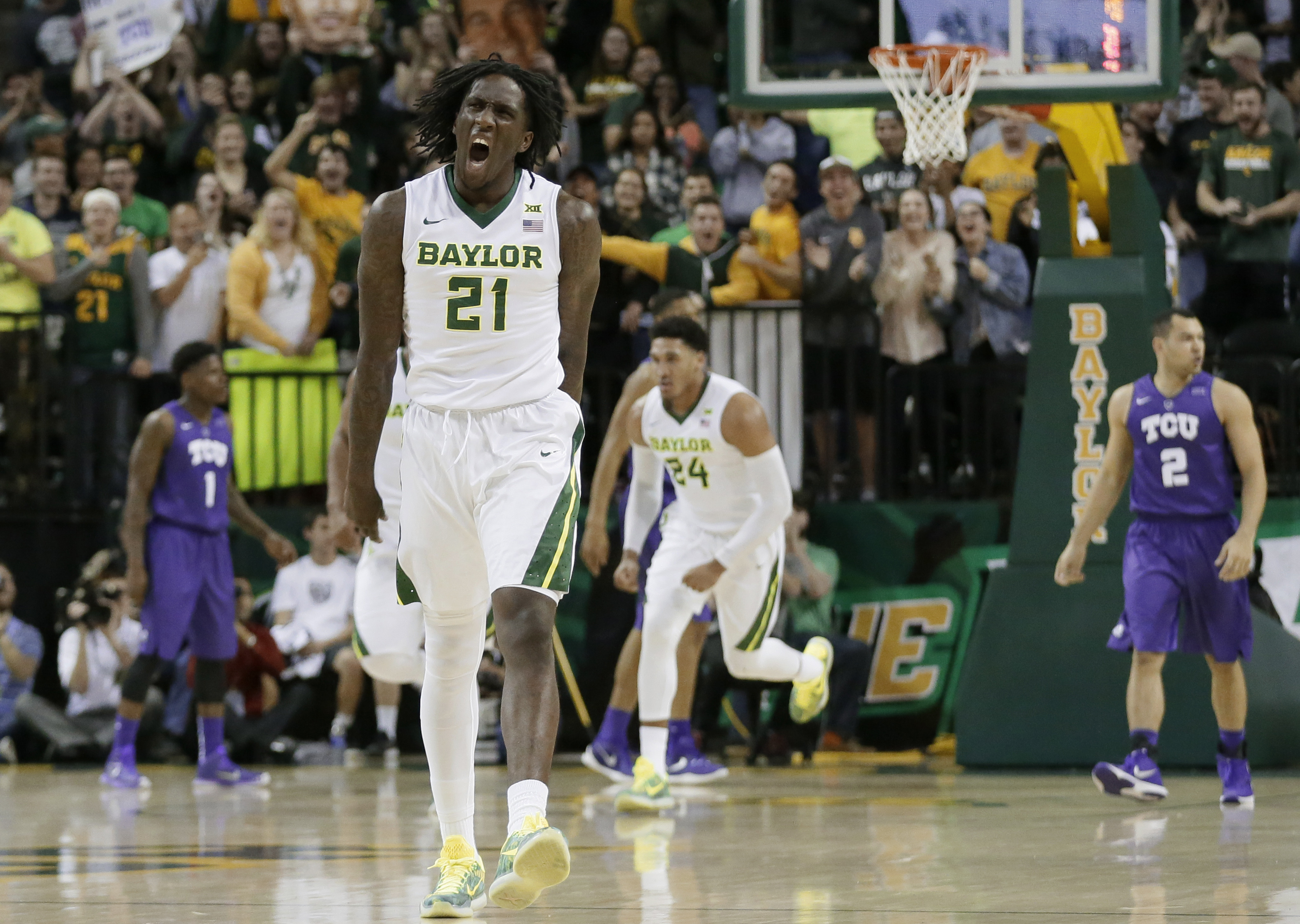 Baylor's Taurean Prince (21) celebrates a score against TCU in the first half of an NCAA college basketball game, Wednesday, Jan. 13, 2016, in Waco, Texas. (AP Photo/Tony Gutierrez)