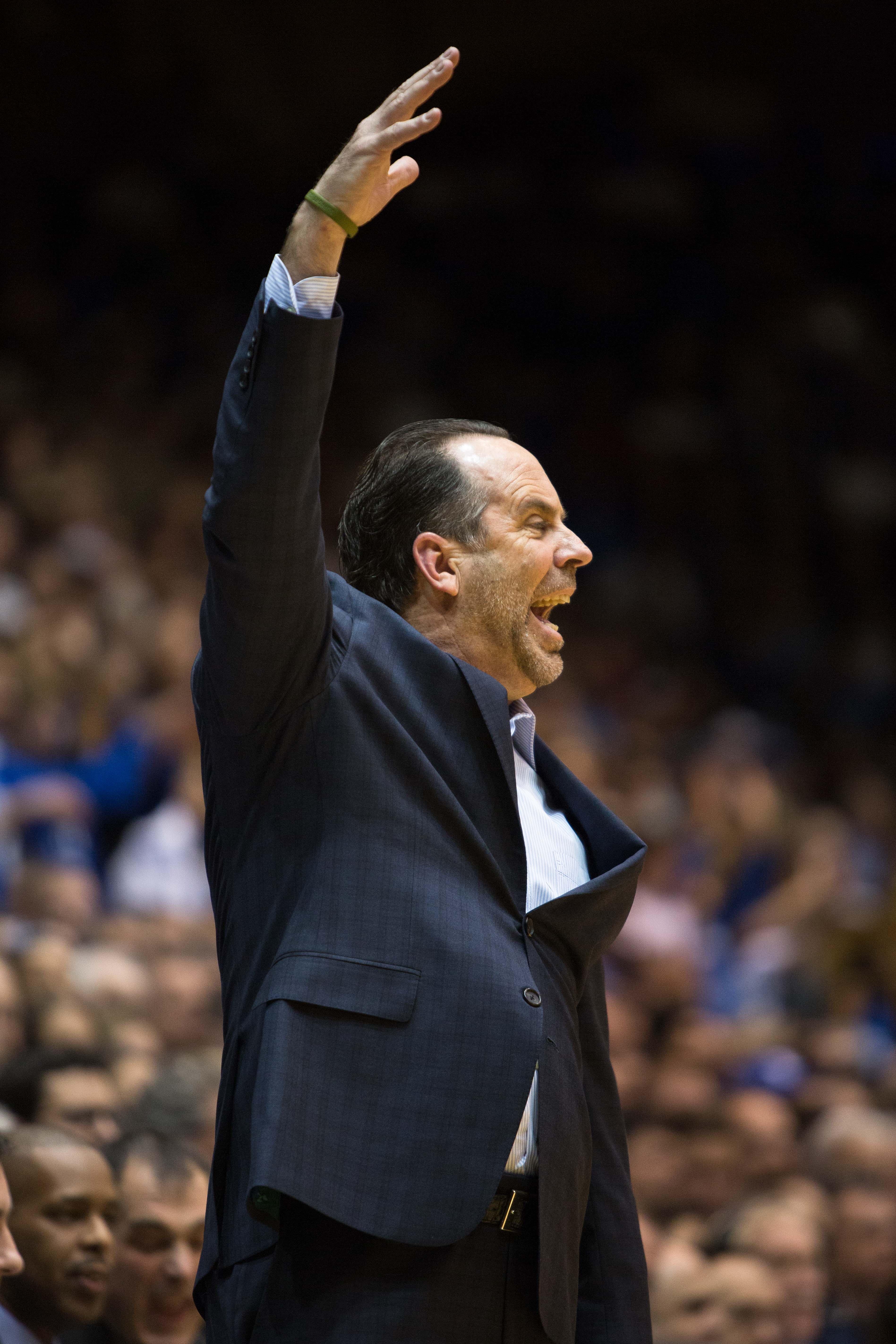 Notre Dame head basketball coach Mike Brey shouts to an official during the first half of an NCAA college basketball game against Duke at Cameron Indoor Stadium in Durham, N.C., Saturday, Jan. 16, 2016. (AP Photo/Ben McKeown)