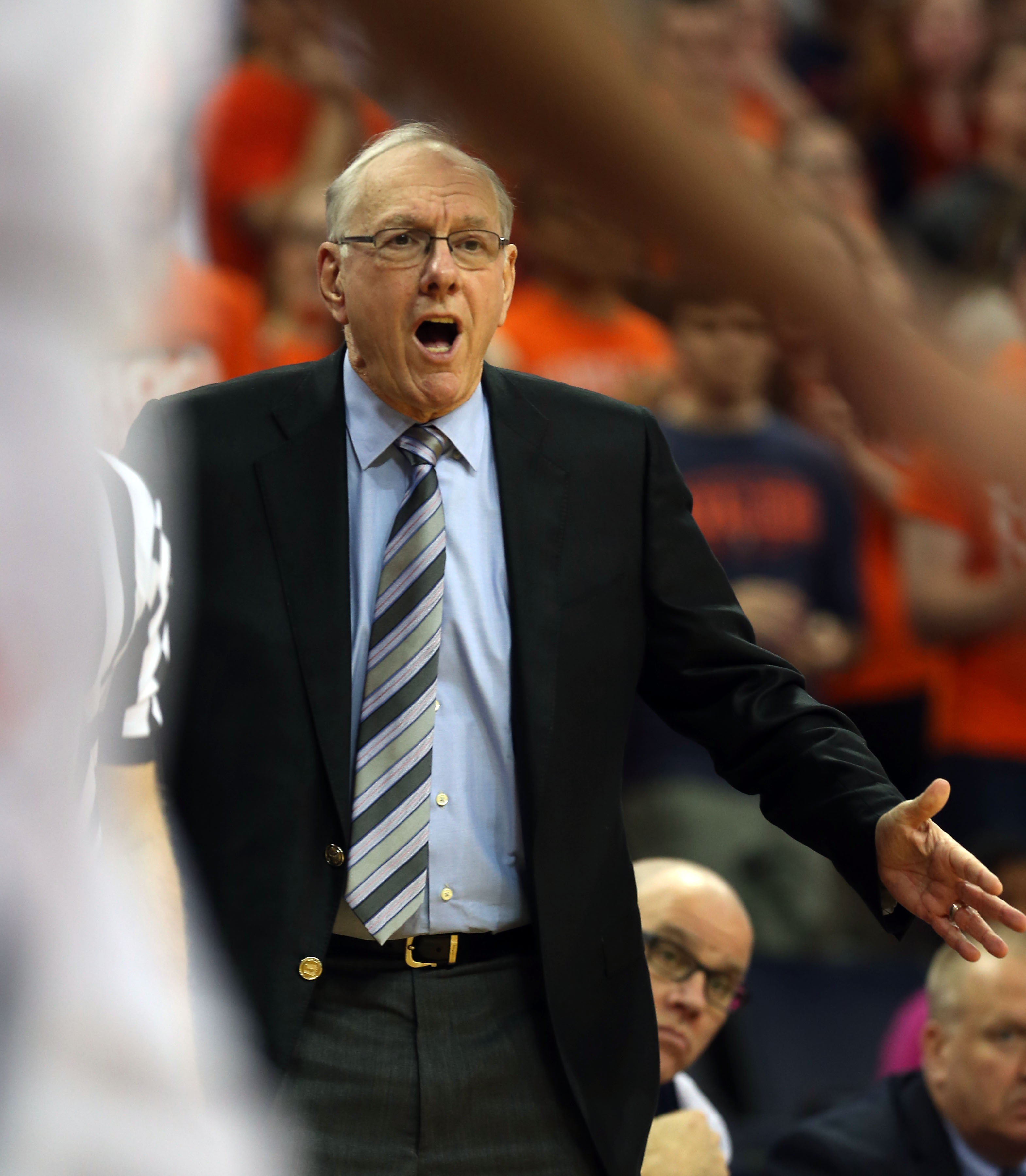 Syracuse head coach Jim Boeheim reacts to a call during an Atlantic Coast Conference basketball game against Virginia, Sunday Jan. 24, 2016, in Charlottesville, Va. (Photo/Andrew Shurtleff)