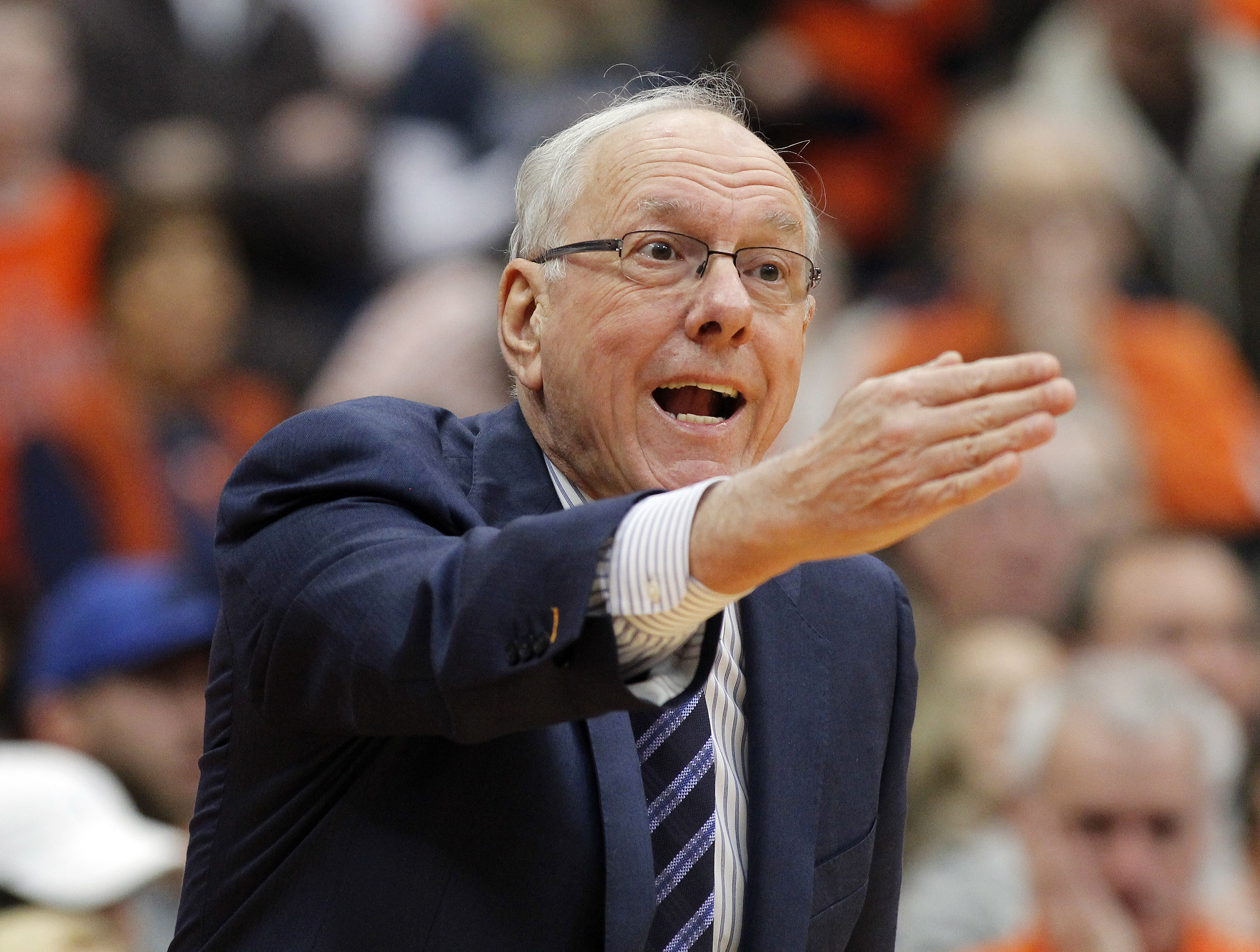 Syracuse head coach Jim Boeheim directs to his players in the first half of an NCAA college basketball game against Georgia Tech in Syracuse, N.Y., Saturday, Jan. 30, 2016. (AP Photo/Nick Lisi)