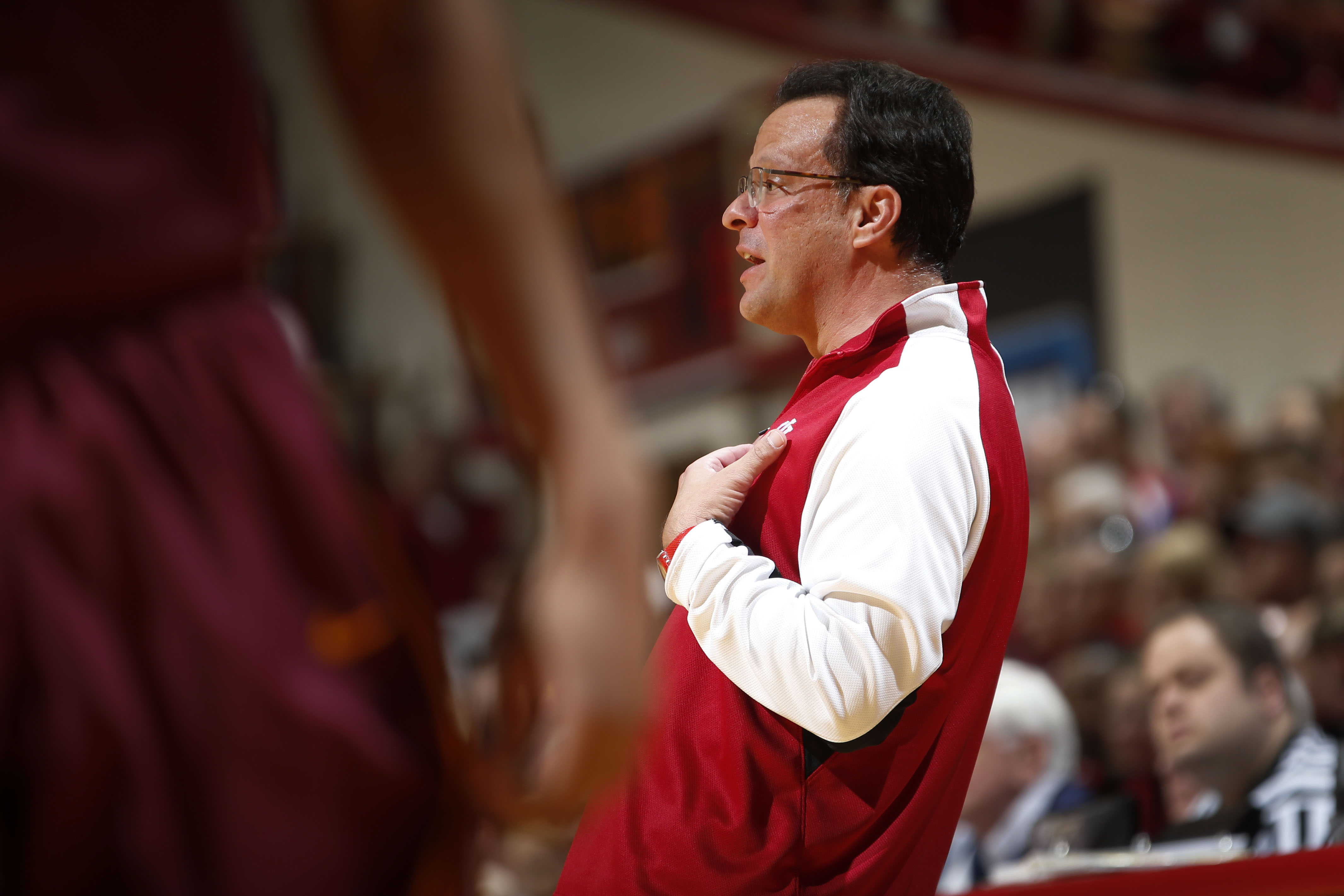 Indiana head coach Tom Crean reacts to a call while playing Minnesota in the first half of an NCAA college basketball game in Bloomington, Ind., Saturday, Jan. 30, 2016. Indiana won 74-68. (AP Photo/AJ Mast)