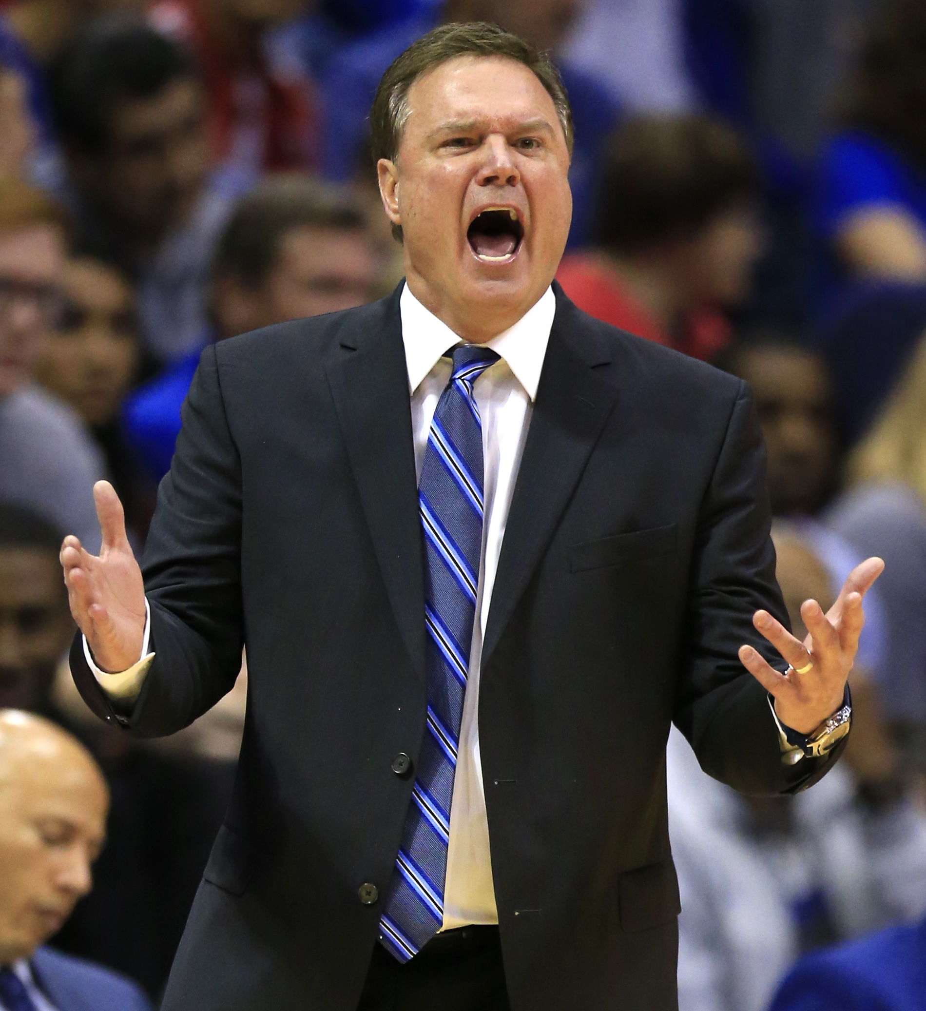 Kansas coach Bill Self yells to his team during the second half of an NCAA college basketball game against Kansas State in Lawrence, Kan., Wednesday, Feb. 3, 2016. Kansas defeated Kansas State 77-59. (AP Photo/Orlin Wagner)