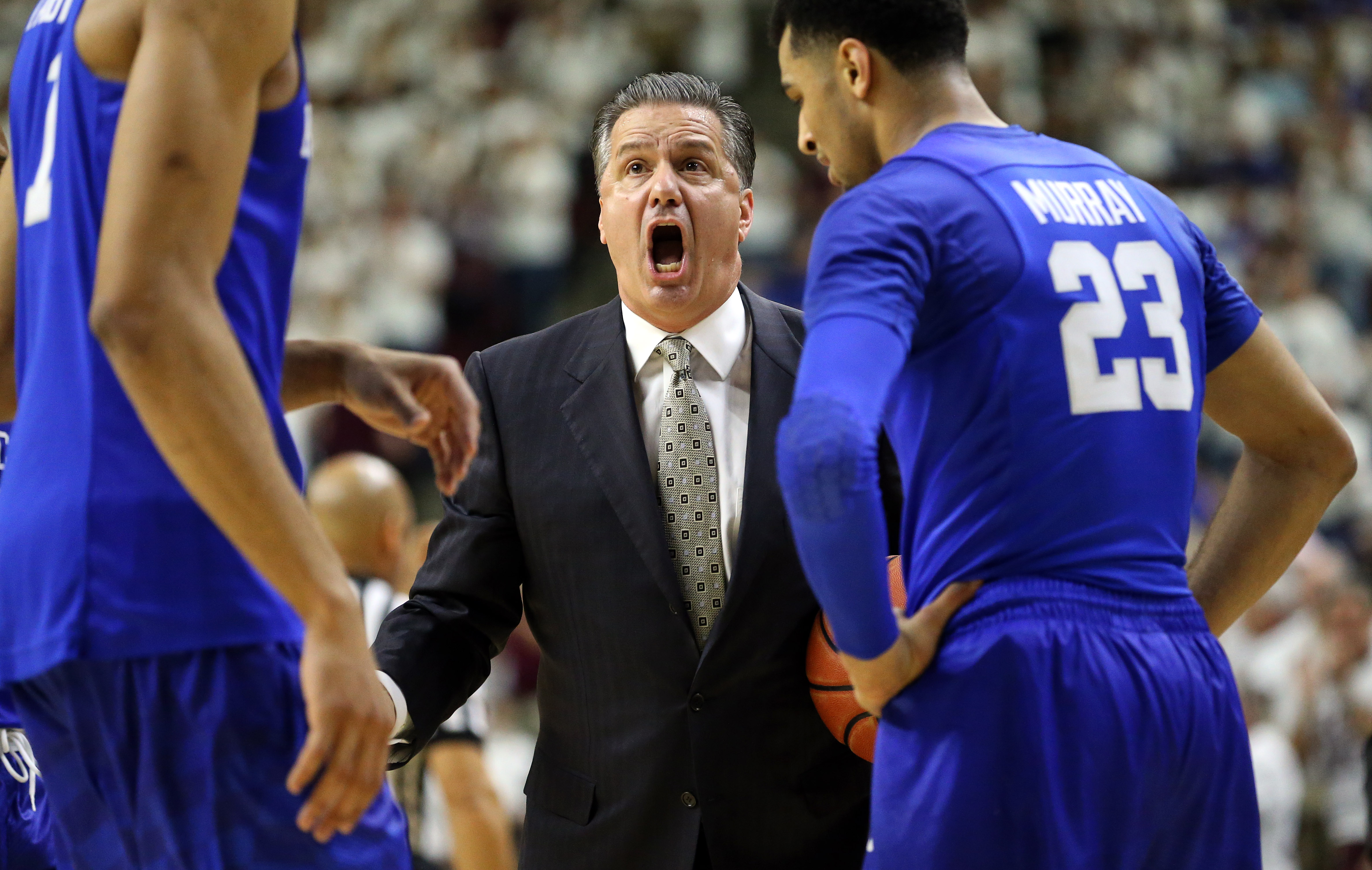 Kentucky head coach John Calipari reacts as his team comes off for a time out against Texas A&M during the first half of an NCAA college basketball game, Saturday, Feb. 20, 2016, in College Station, Texas. (AP Photo/Sam Craft)