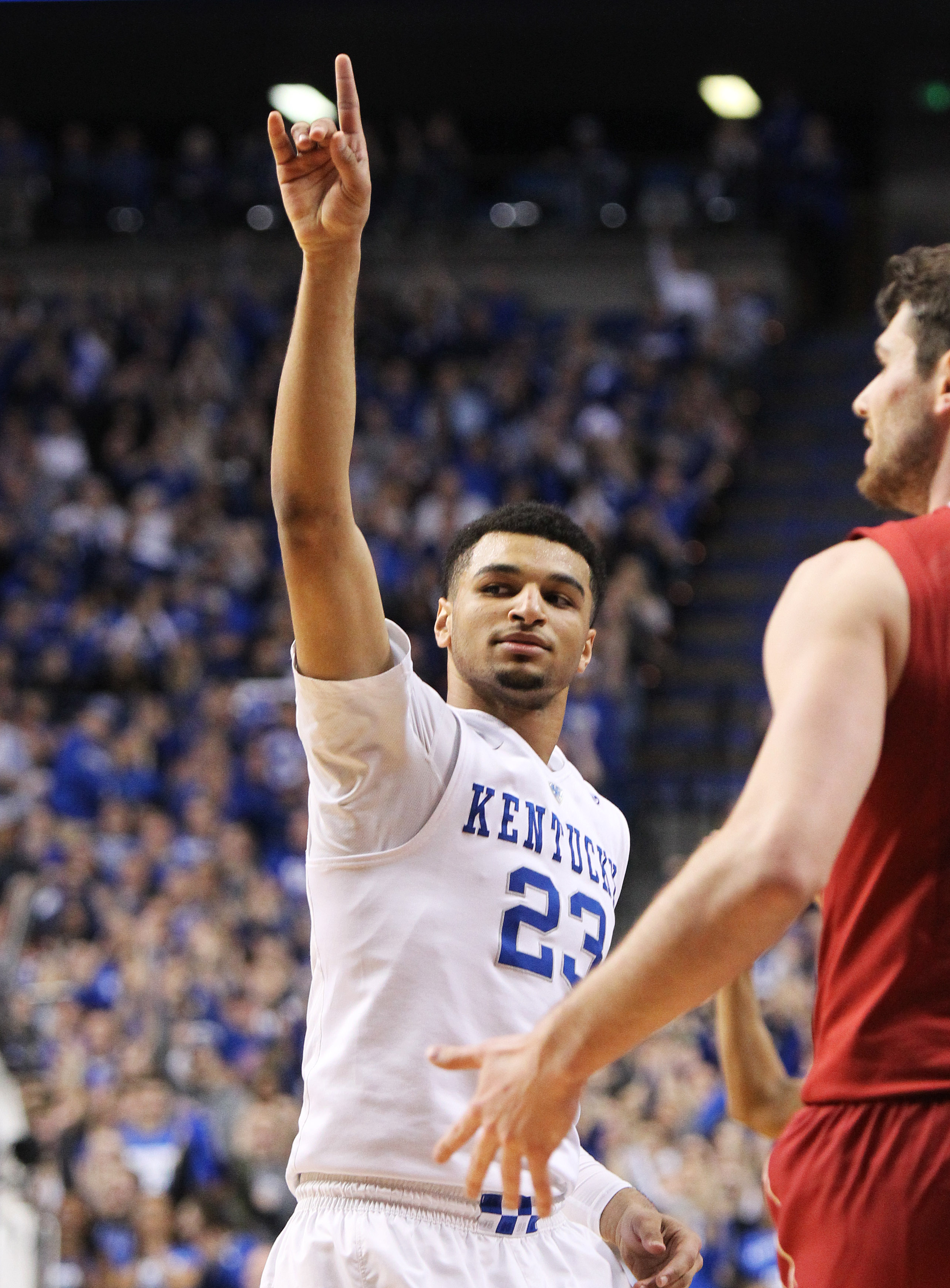 Kentucky's Jamal Murray reacts to his three-point shots during the first half of an NCAA college basketball game against Alabama on Tuesday, Feb. 23, 2016, in Lexington, Ky. (AP Photo/James Crisp)