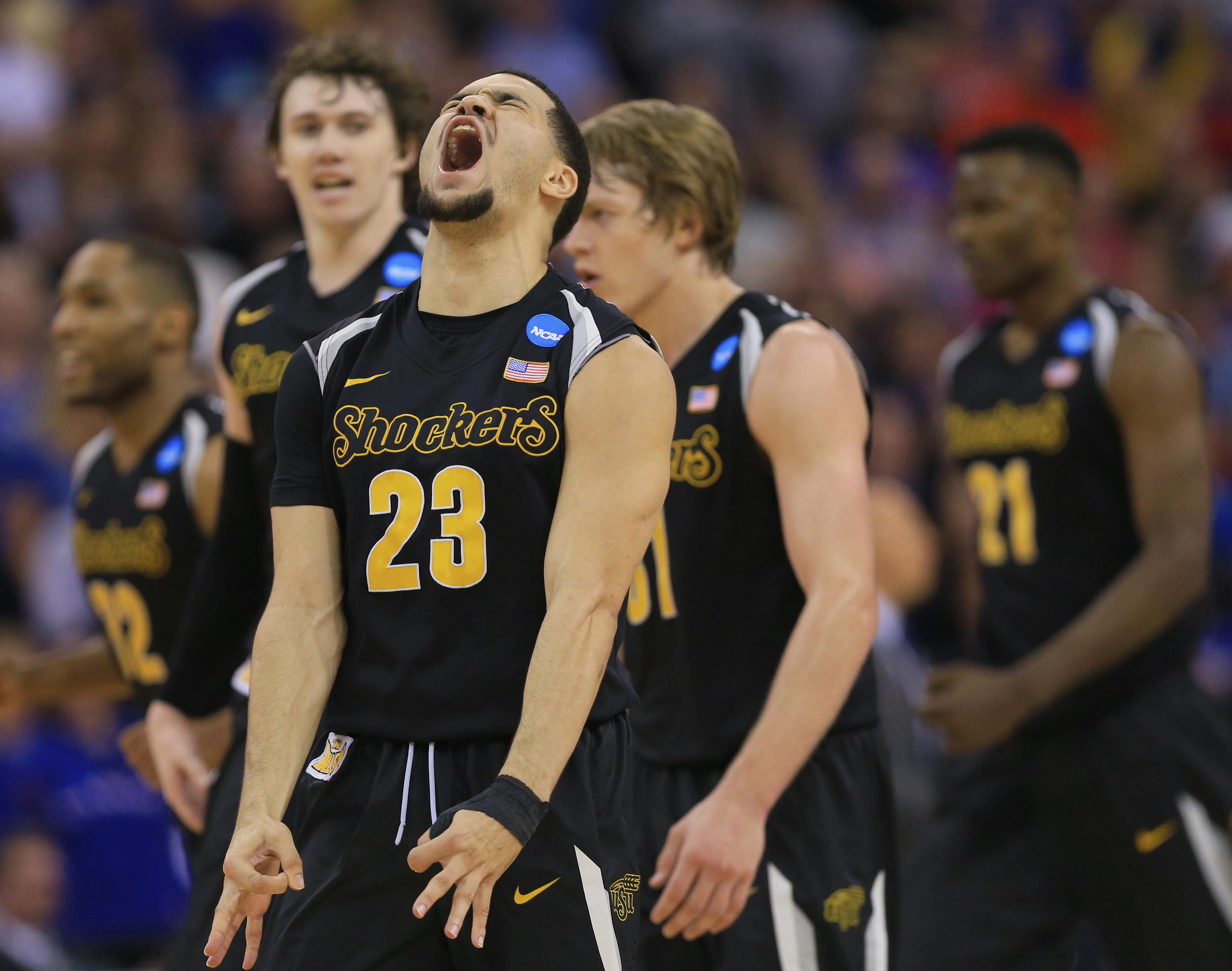 FILE - In this March 22, 2015, file photo, Wichita State's Fred VanVleet (23) reacts after hitting a three-point basket against Kansas during the first half of an NCAA tournament college basketball game in the Round of 32 in Omaha, Neb. Senior day is alwa
