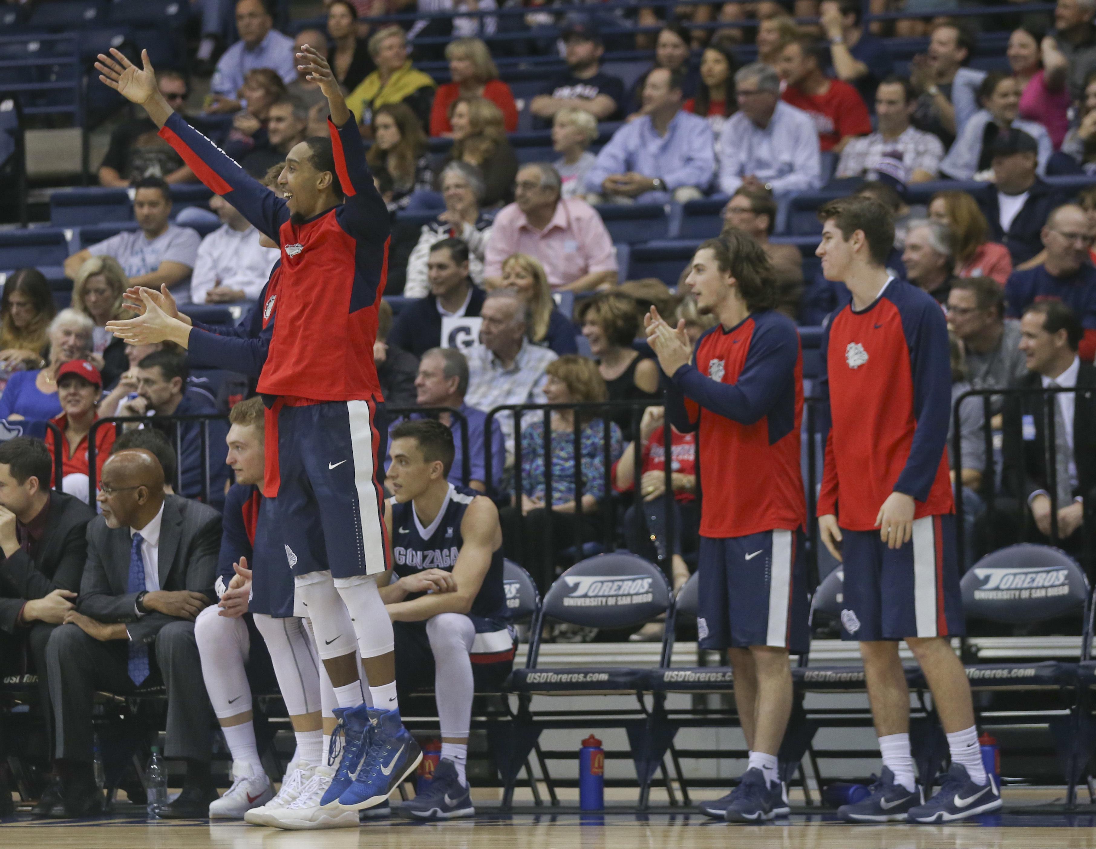 The Gonzaga bench celebrates a 3-point basket against San Diego during the second half of an NCAA college basketball game Thursday, Feb. 25, 2016, in San Diego. Gonzaga won 82-60.(AP Photo/Lenny Ignelzi)