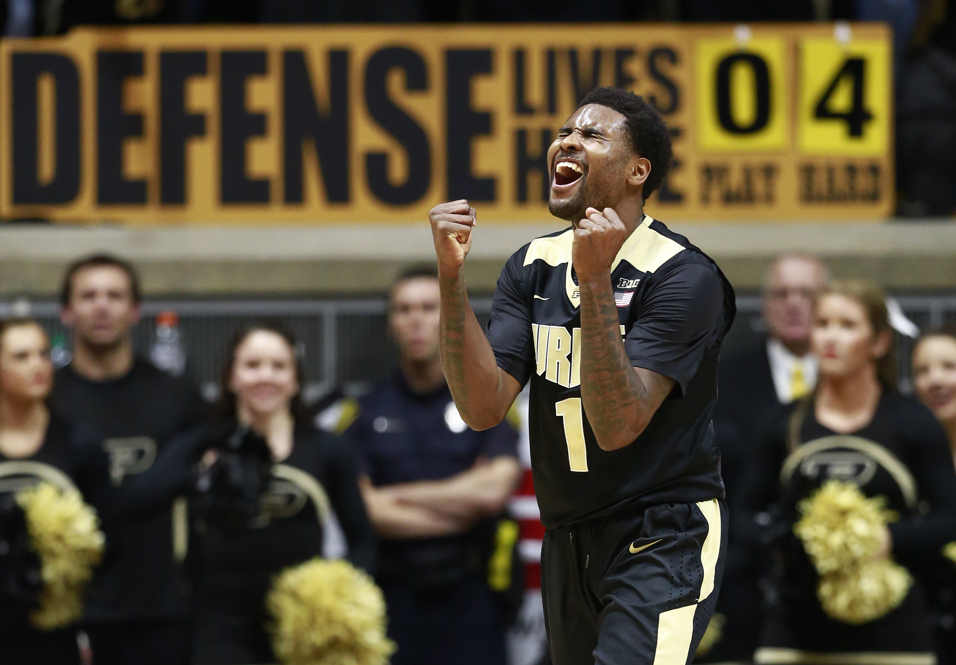 Purdue guard Johnny Hill celebrates a Maryland turnover in the second half of an NCAA college basketball game, Saturday, Feb. 27, 2016, in West Lafayette, Ind. (AP Photo/R Brent Smith)