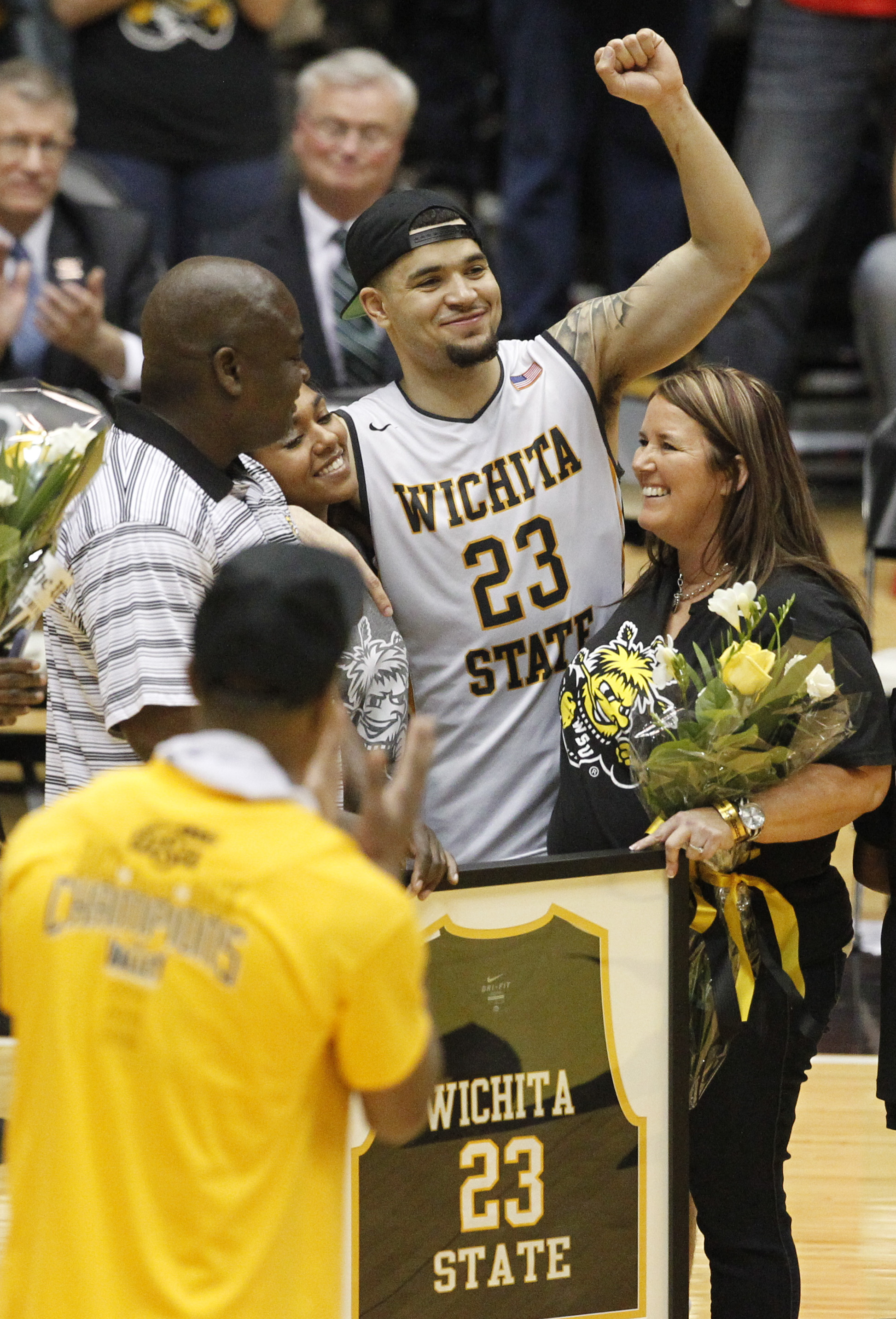 Wichita State senior Fred VanVleet is honored after Wichita State defeated Illinois State in an NCAA college basketball game Saturday, Feb. 27, 2016, in Wichita, Kan. (Travis Heying/The Wichita Eagle via AP)