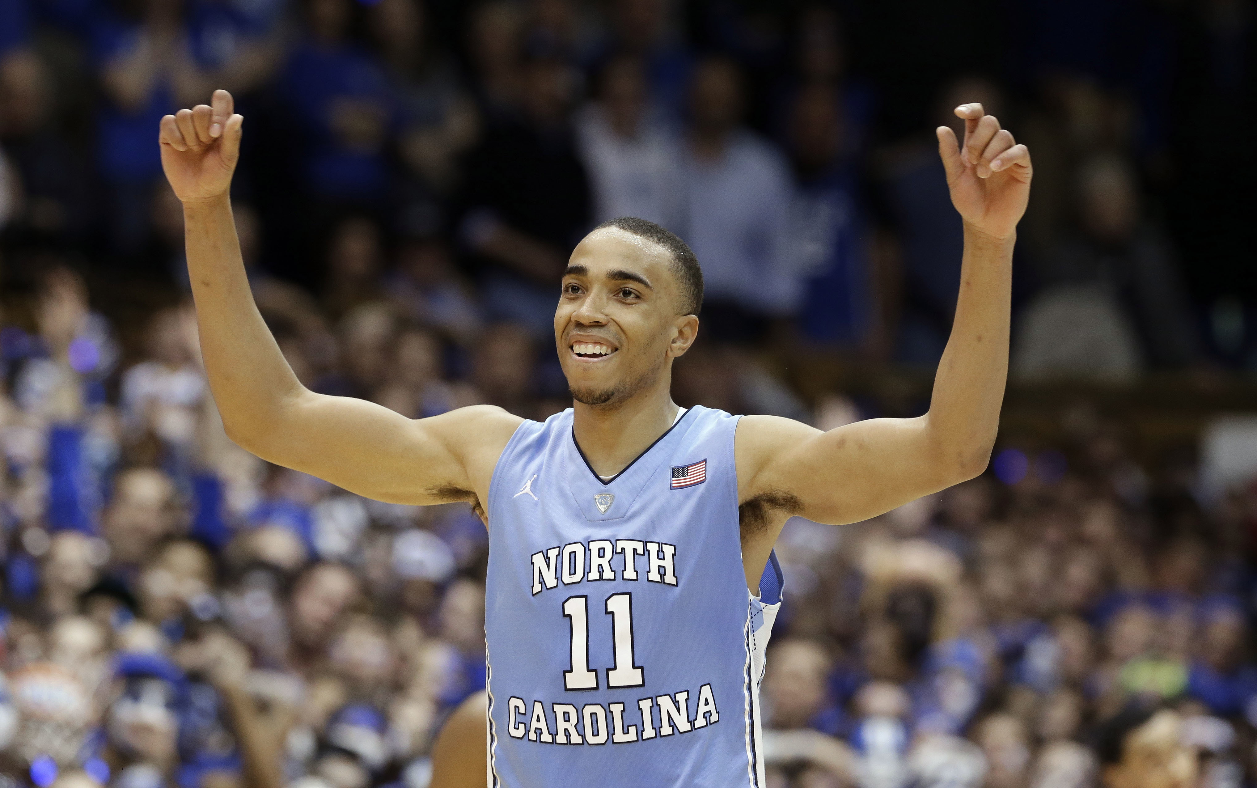 North Carolina's Brice Johnson (11) reacts following North Carolina's 76-72 win over Duke in an NCAA college basketball game in Durham, N.C., Saturday, March 5, 2016. (AP Photo/Gerry Broome)