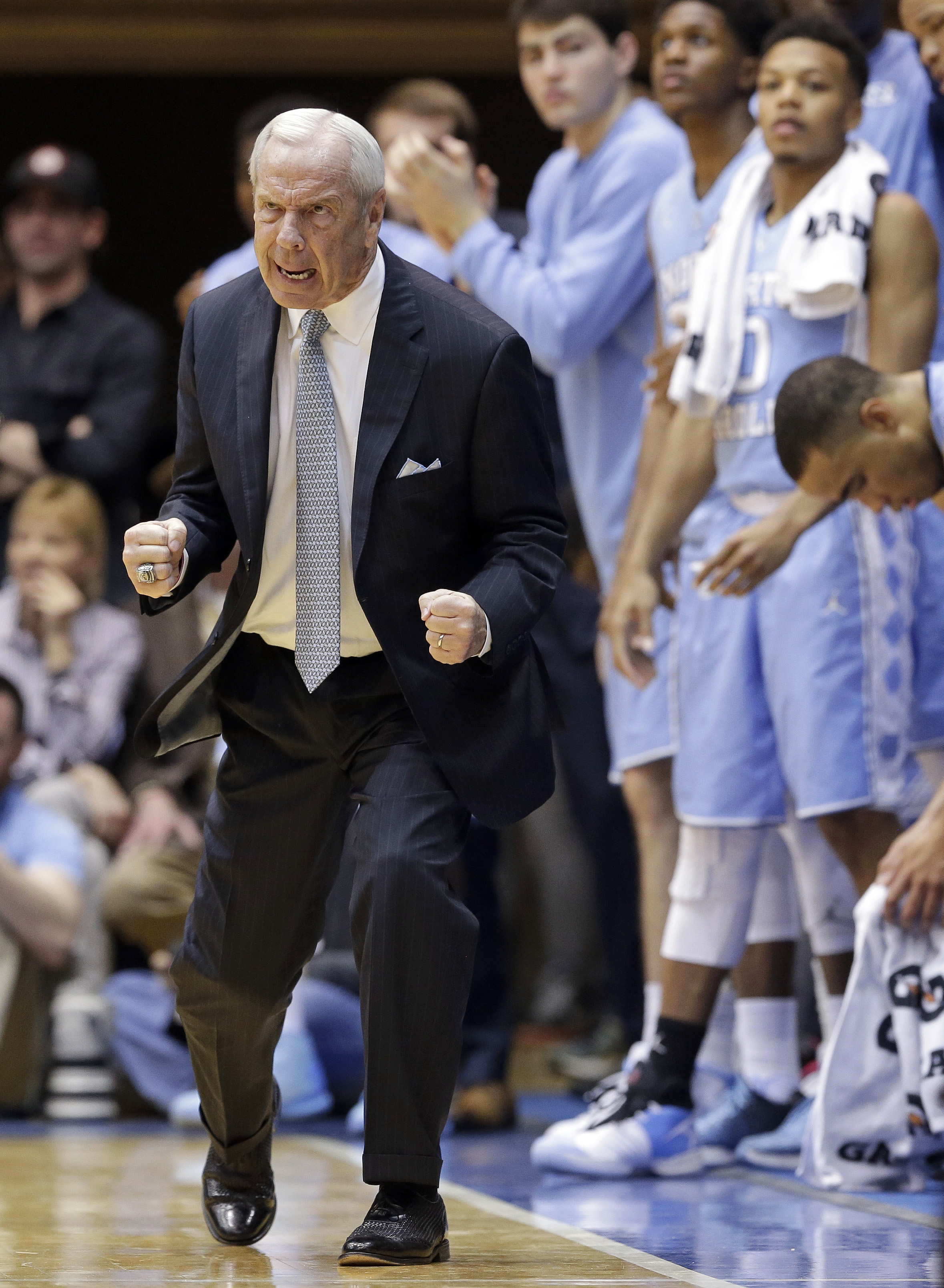 North Carolina coach Roy Williams reacts during the second half of an NCAA college basketball game against Duke in Durham, N.C., Saturday, March 5, 2016. North Carolina won 76-72. (AP Photo/Gerry Broome)